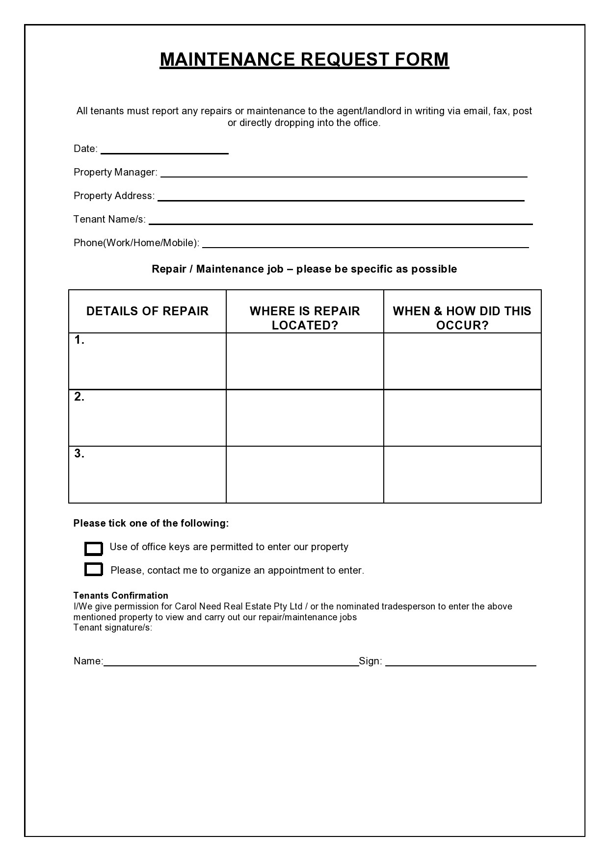 Free maintenance request form 36