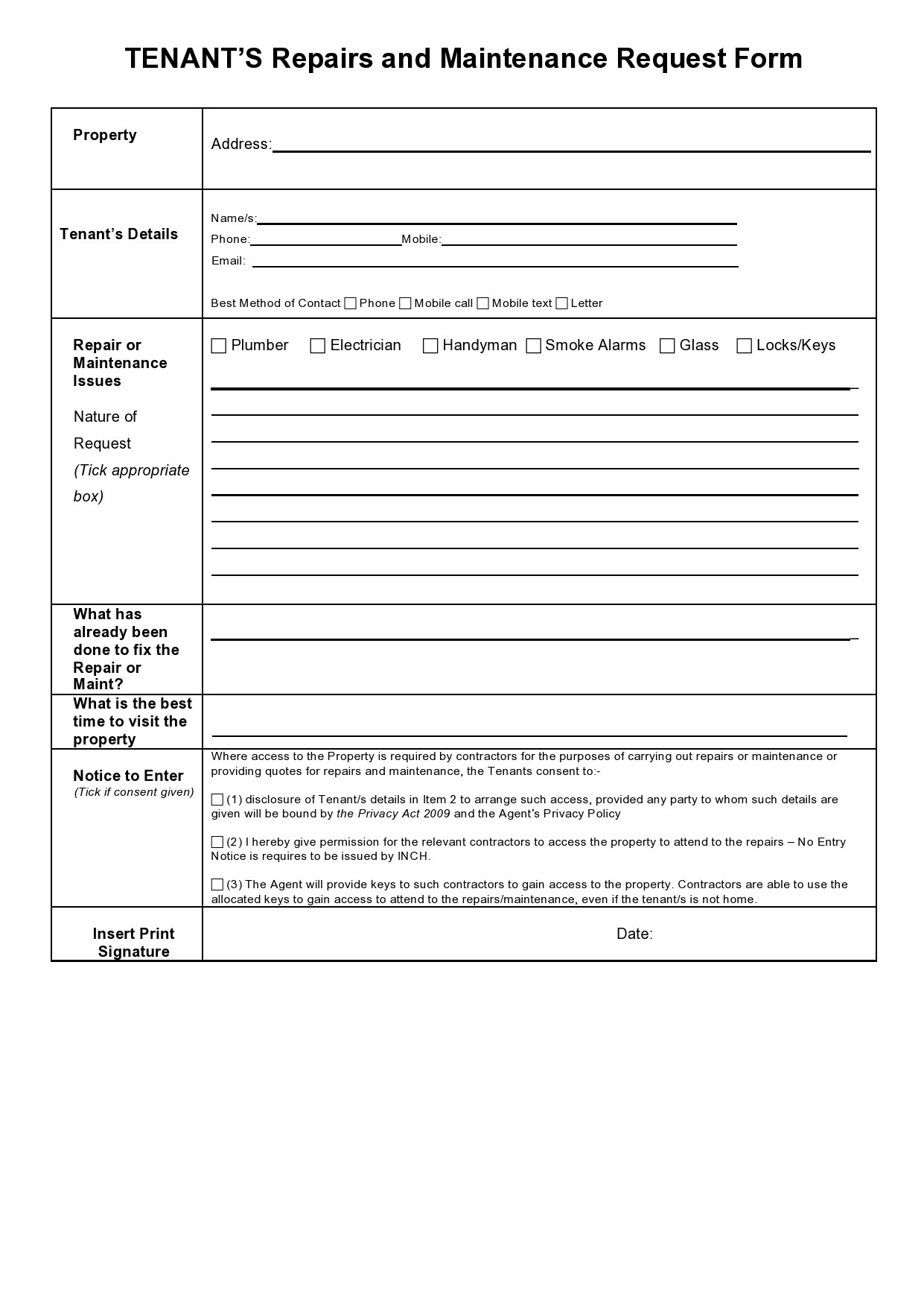 Free maintenance request form 38