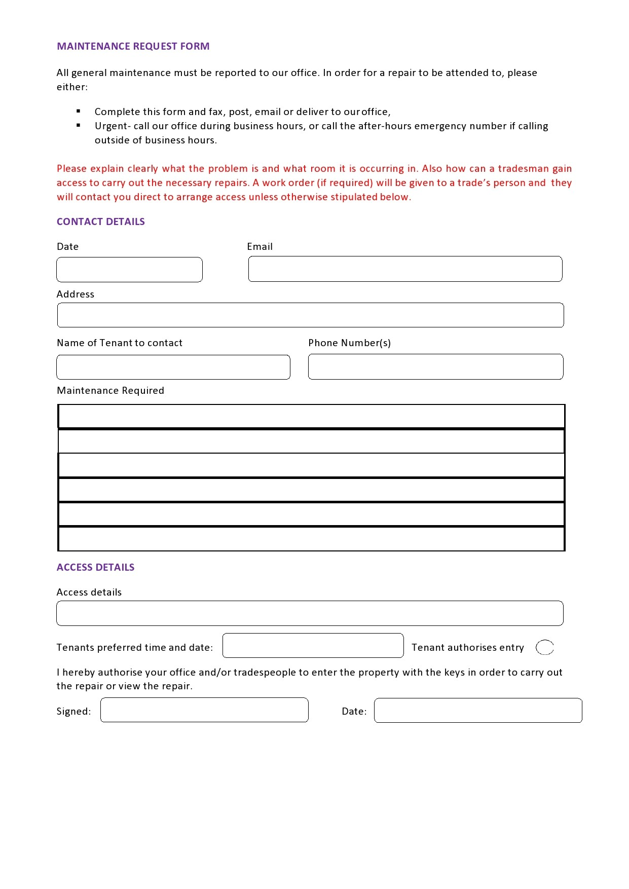 Free maintenance request form 39