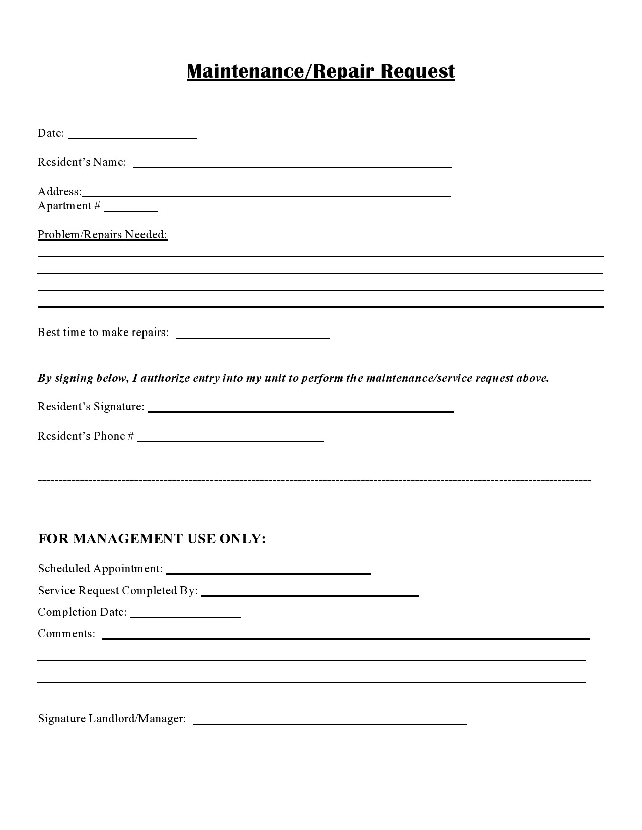 Free maintenance request form 41