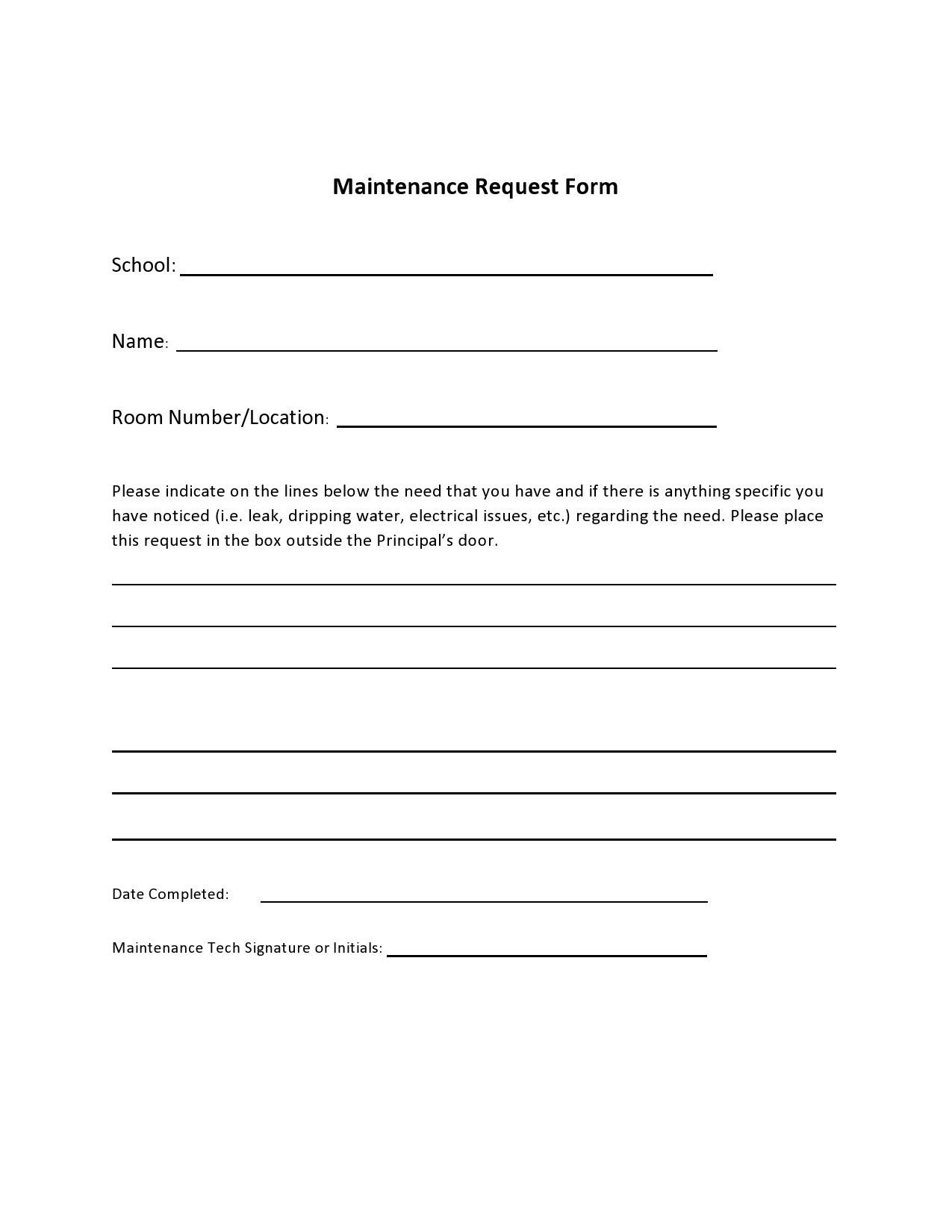 Free maintenance request form 42