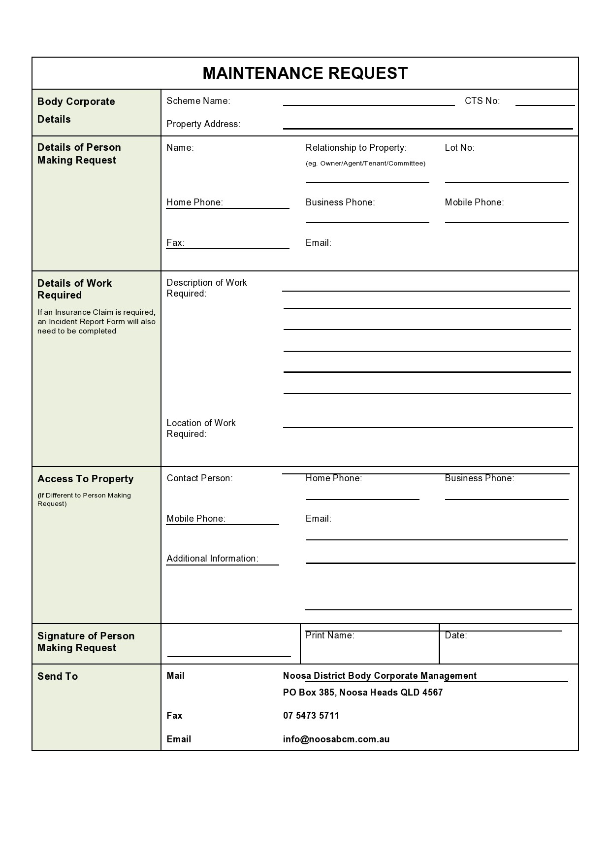 Free maintenance request form 43