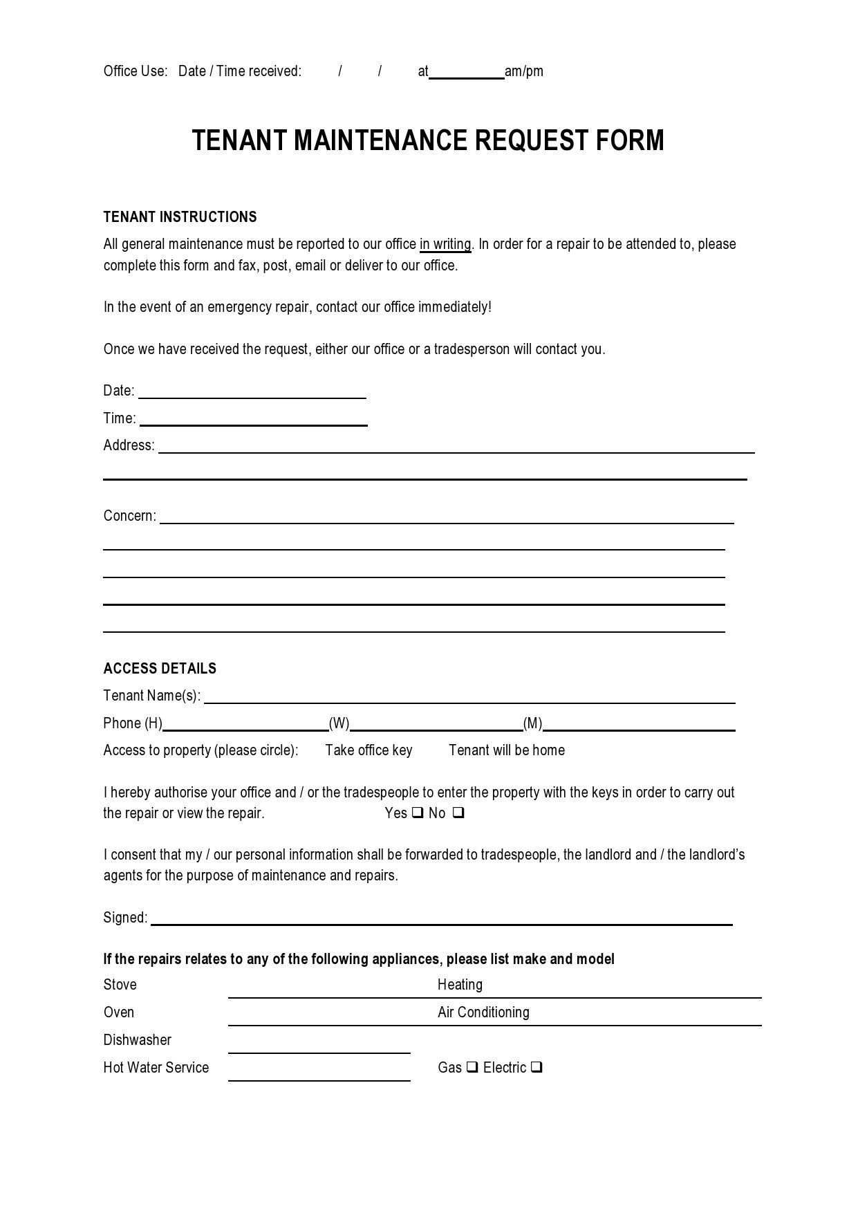 Free maintenance request form 45