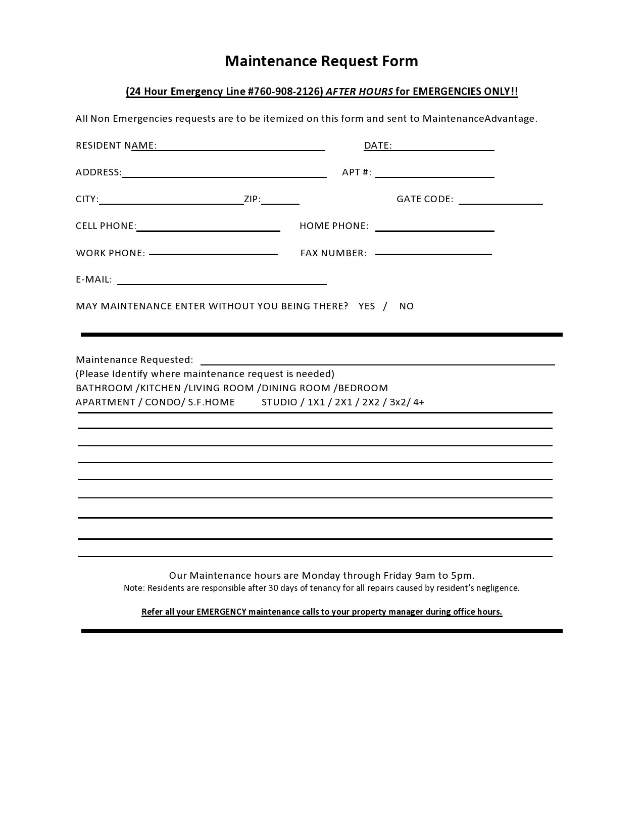 Free maintenance request form 47