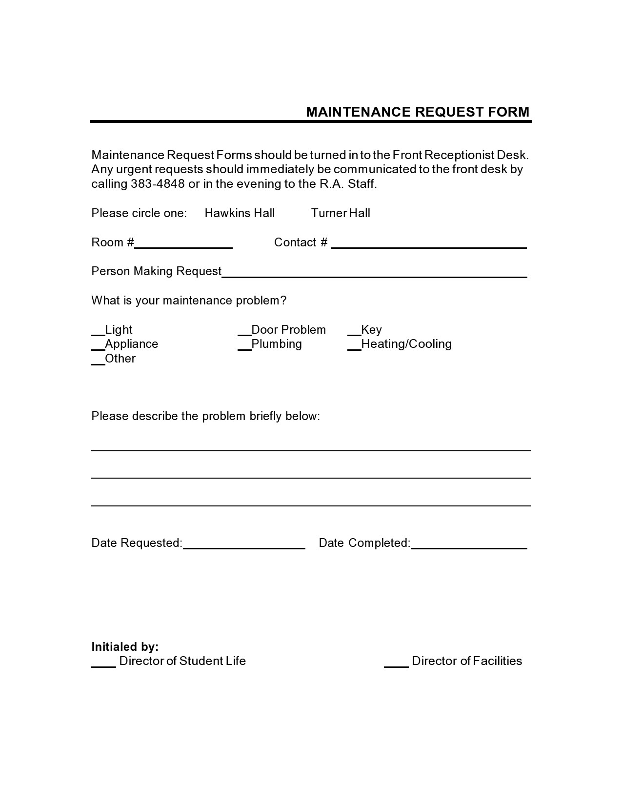 Free maintenance request form 49