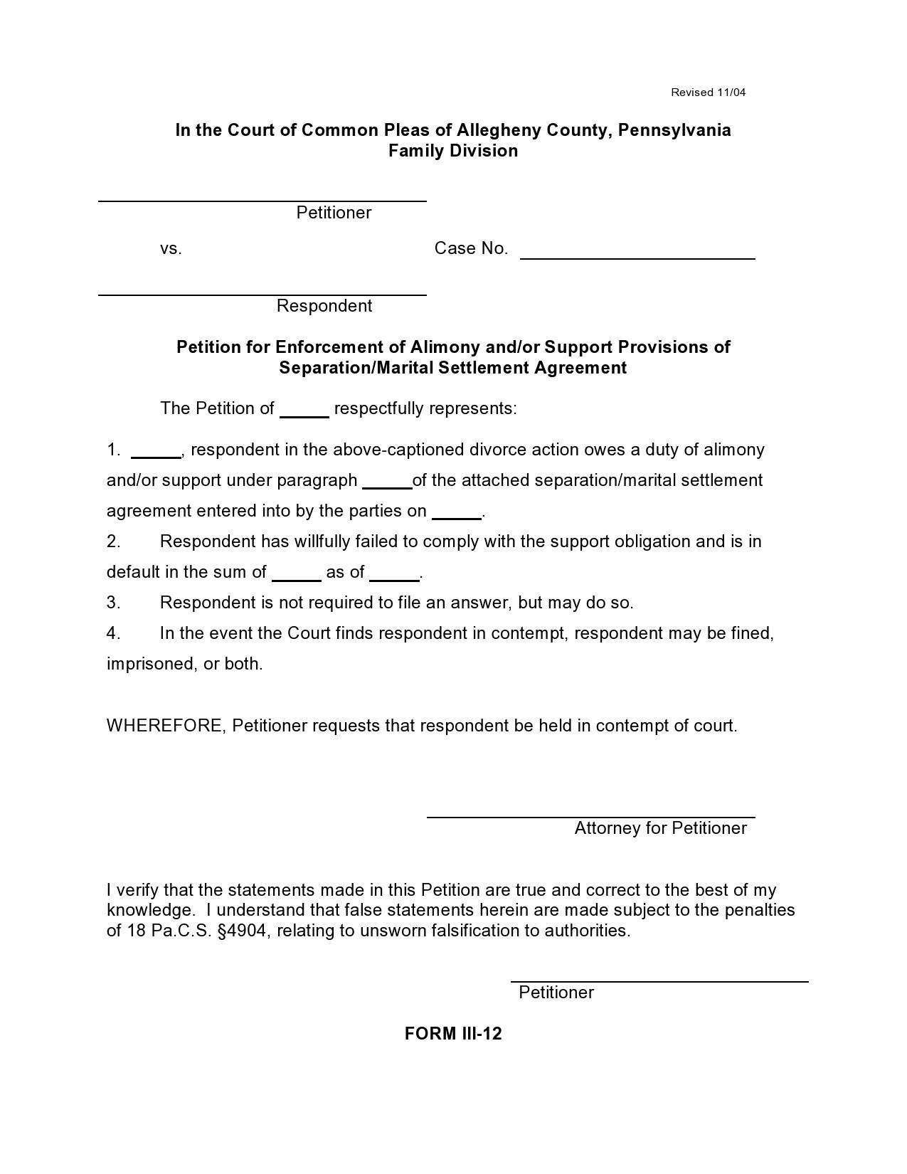 Free marital settlement agreement 01