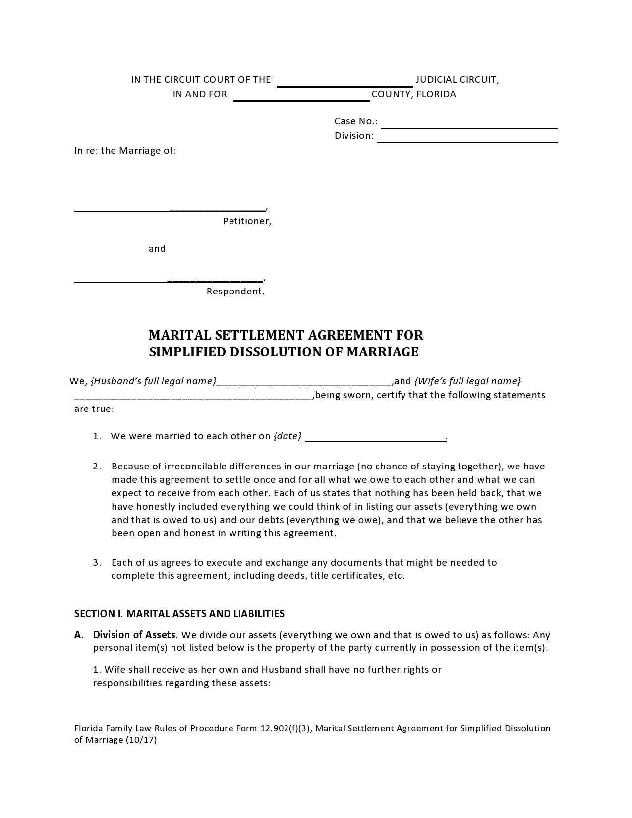 Free marital settlement agreement 07