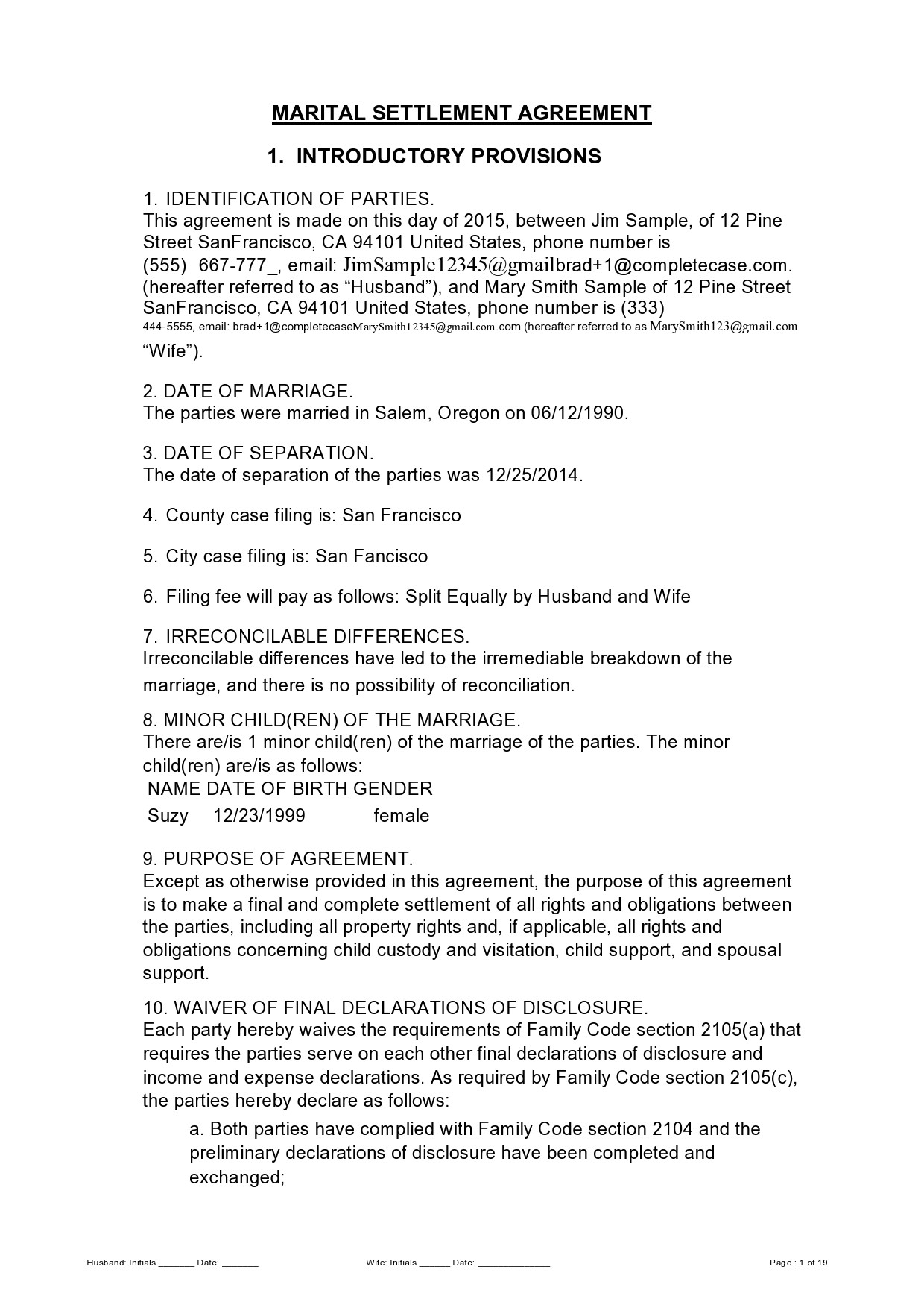 Free marital settlement agreement 08