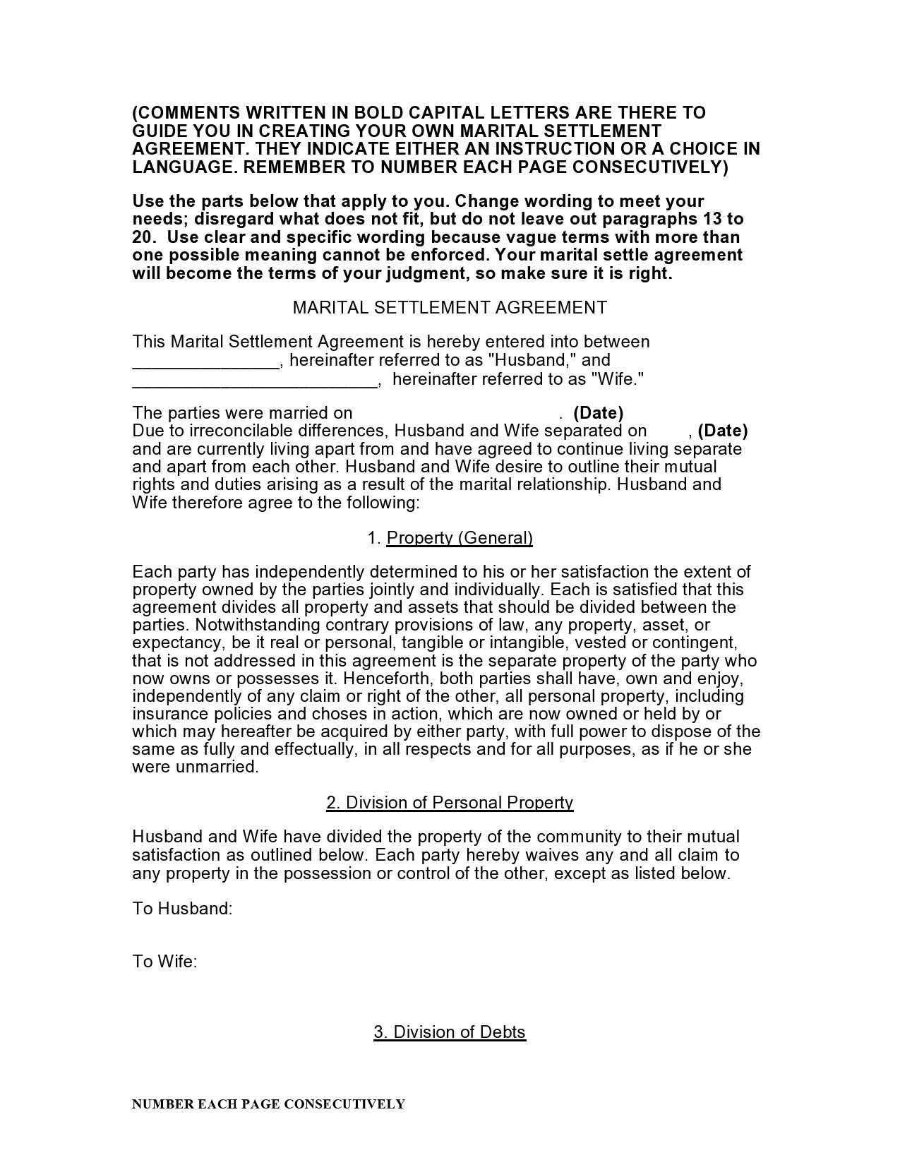 Free marital settlement agreement 11