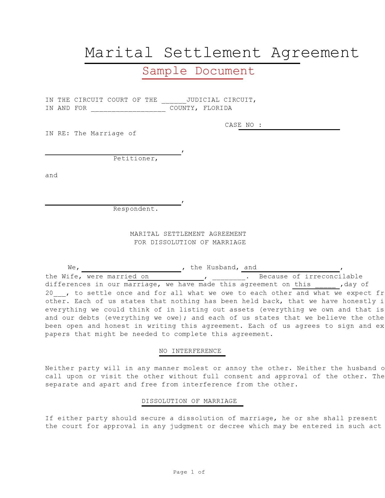 Free marital settlement agreement 13