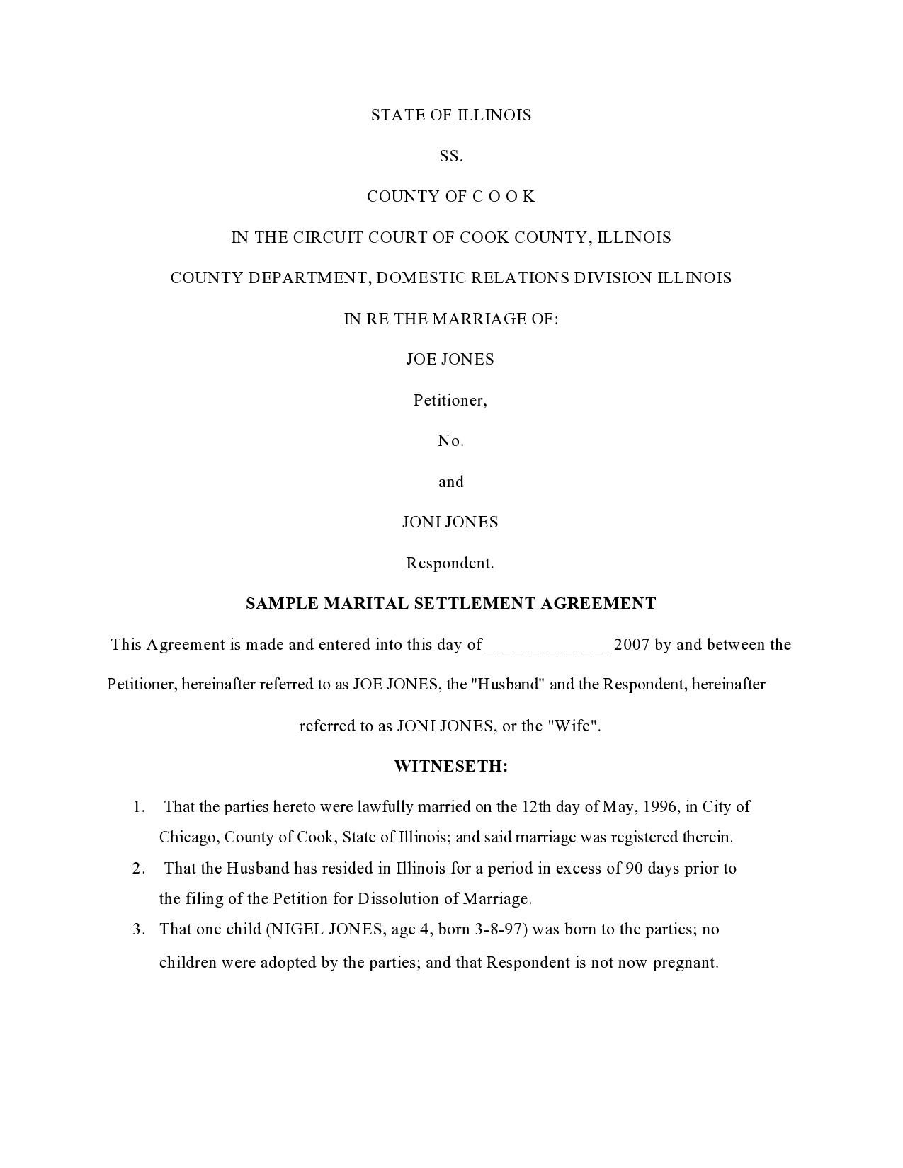 Free marital settlement agreement 20