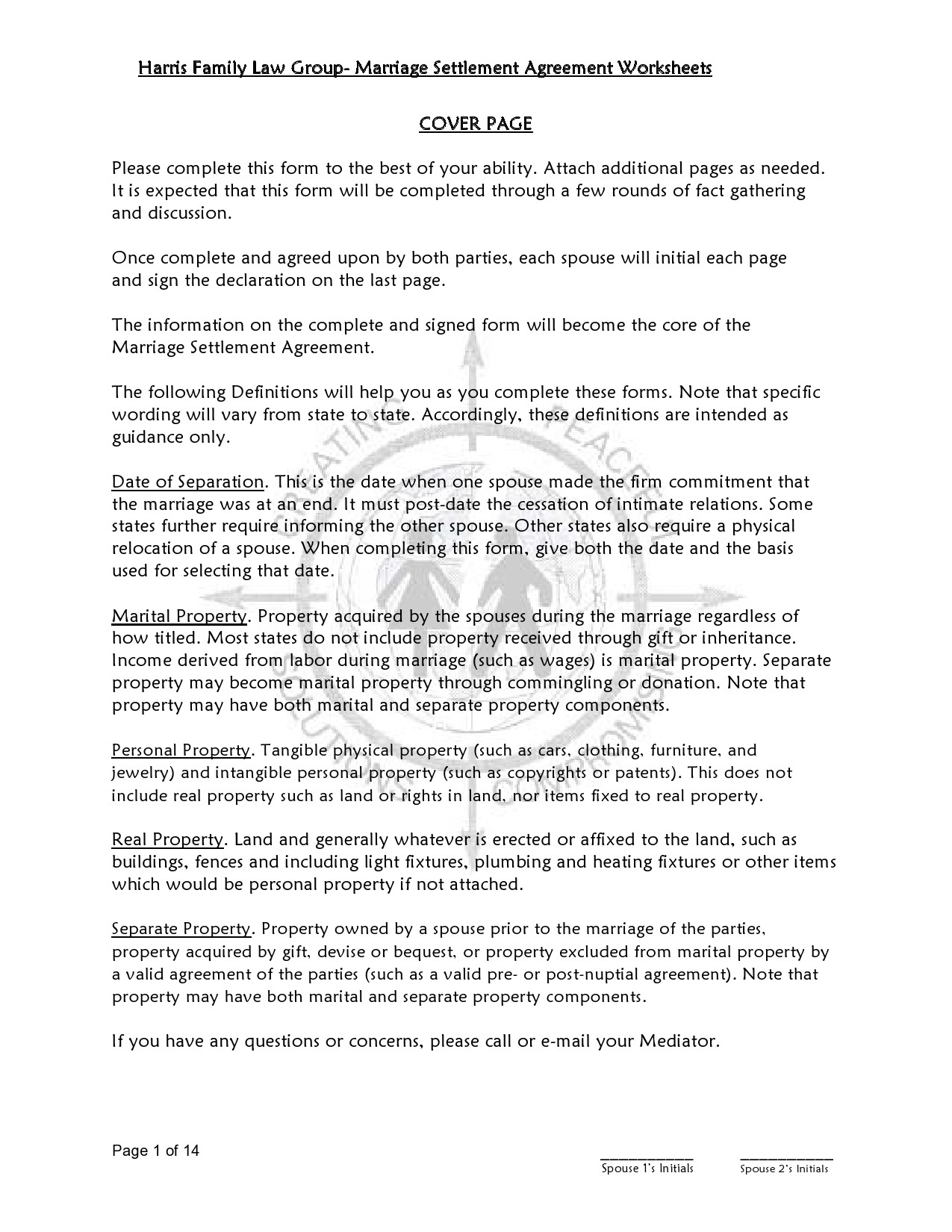 Free marital settlement agreement 30