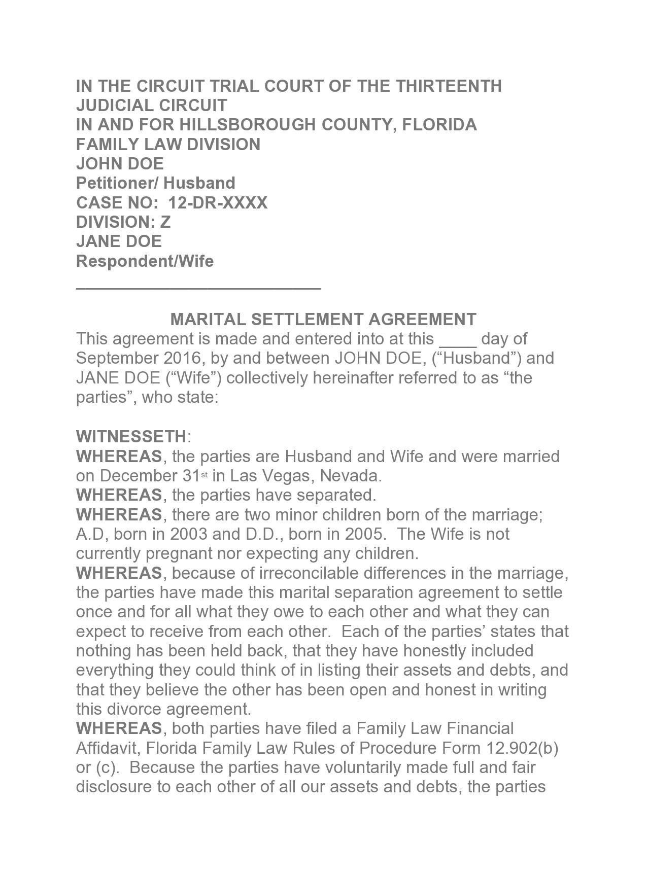 Free marital settlement agreement 35