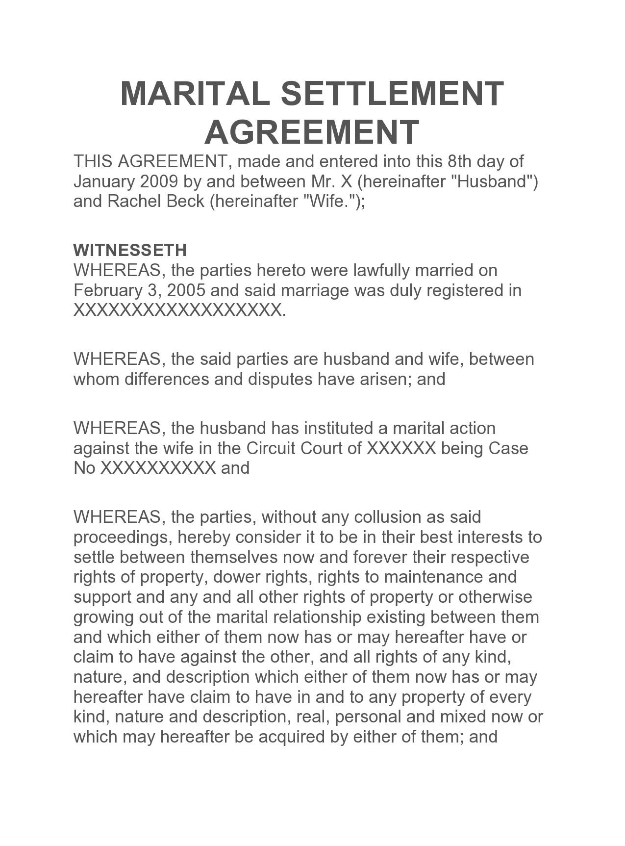 Free marital settlement agreement 36