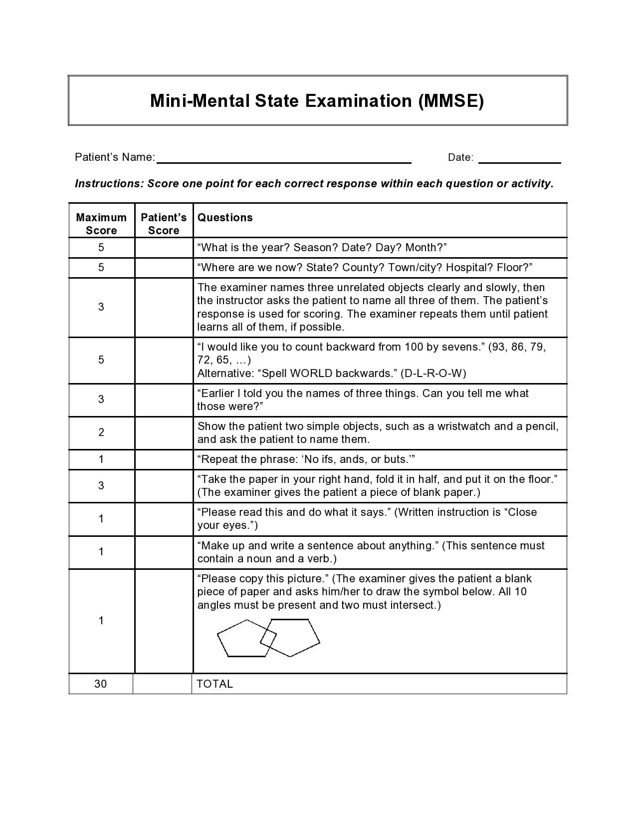 Free mental status exam template 14