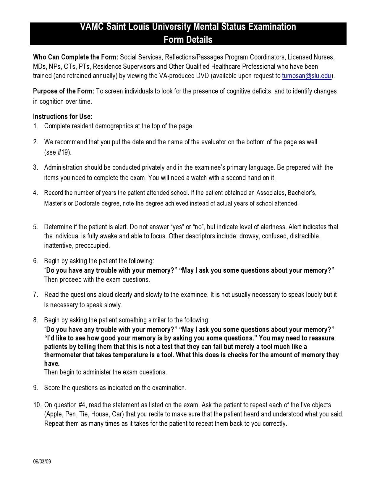 Free mental status exam template 15
