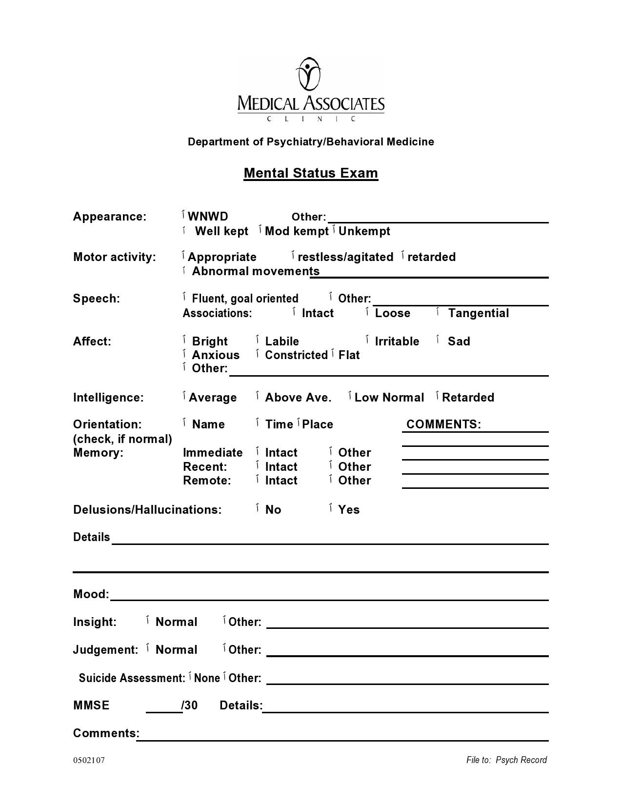 Free mental status exam template 36
