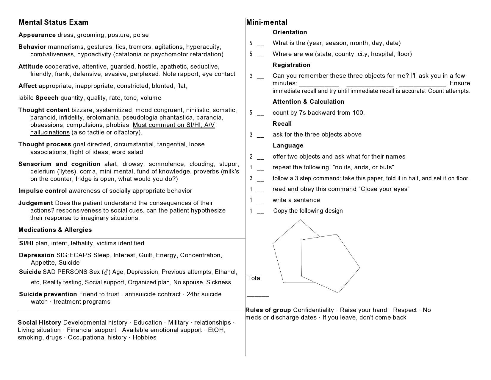 Free mental status exam template 41