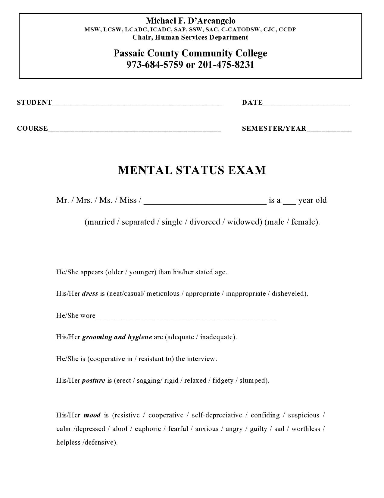 Free mental status exam template 42