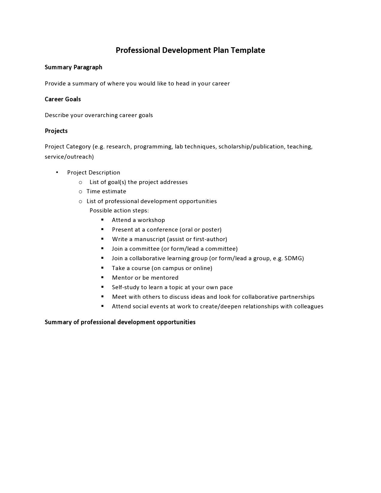 Free professional development plan 05