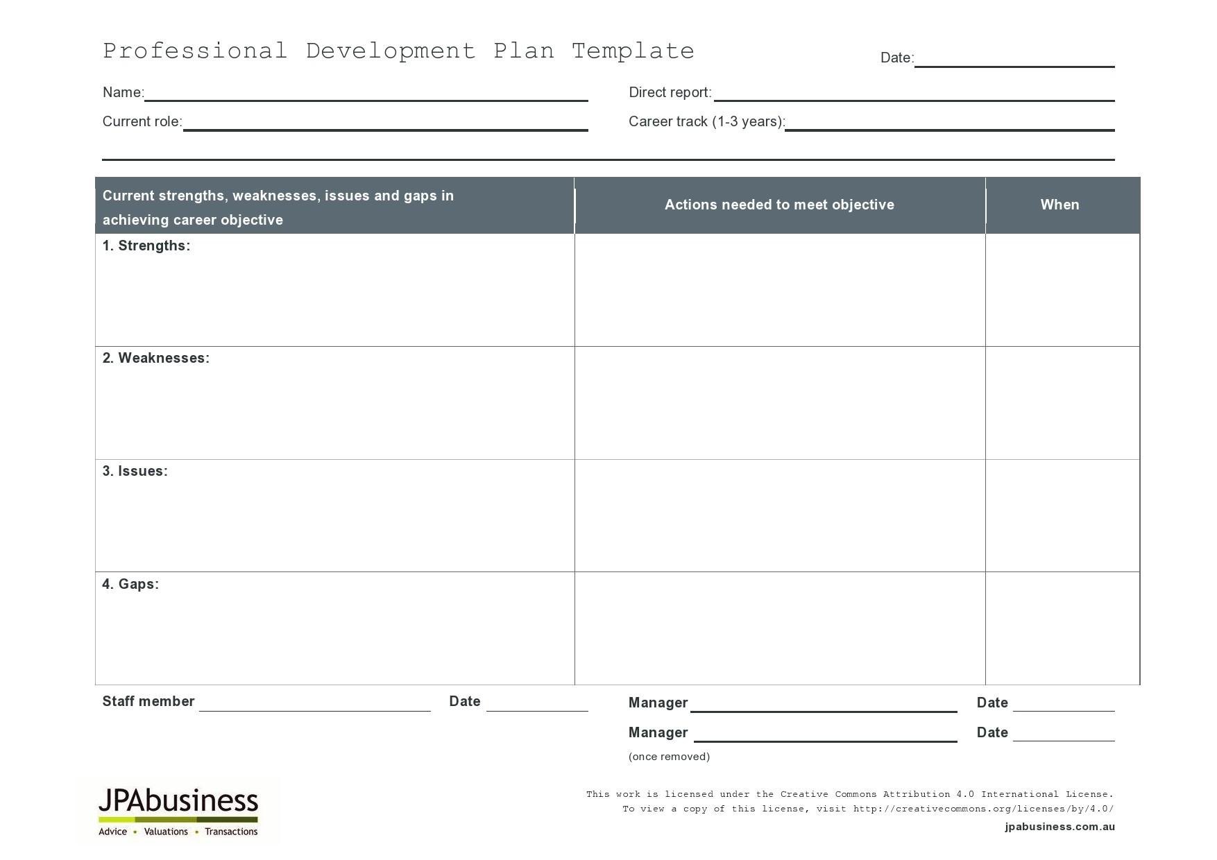 Free professional development plan 06