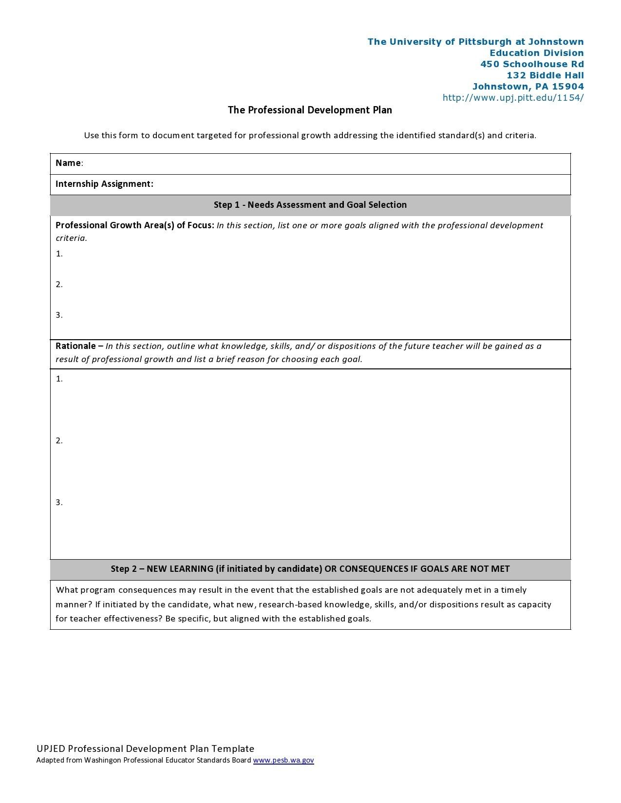 Free professional development plan 09