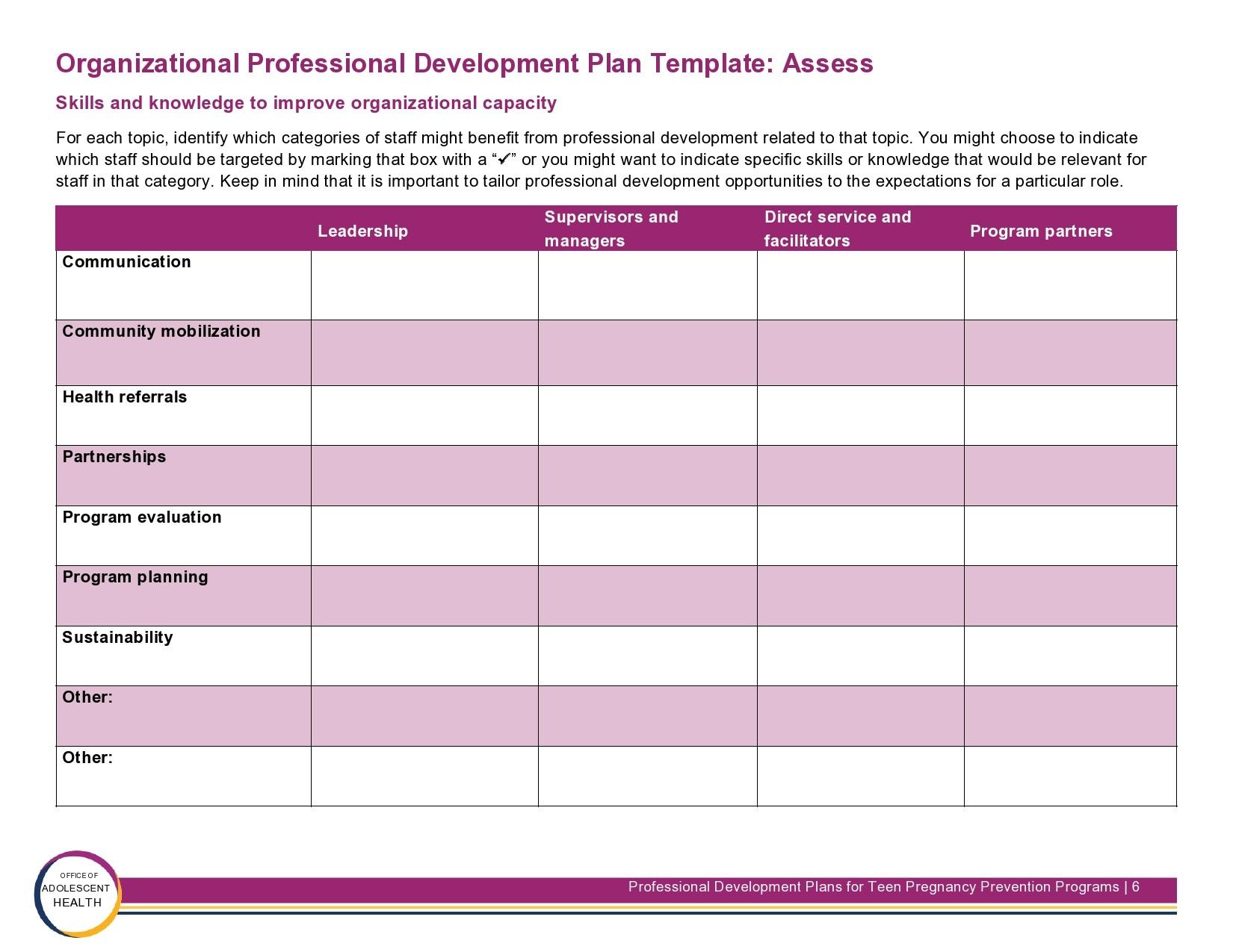 Free professional development plan 16