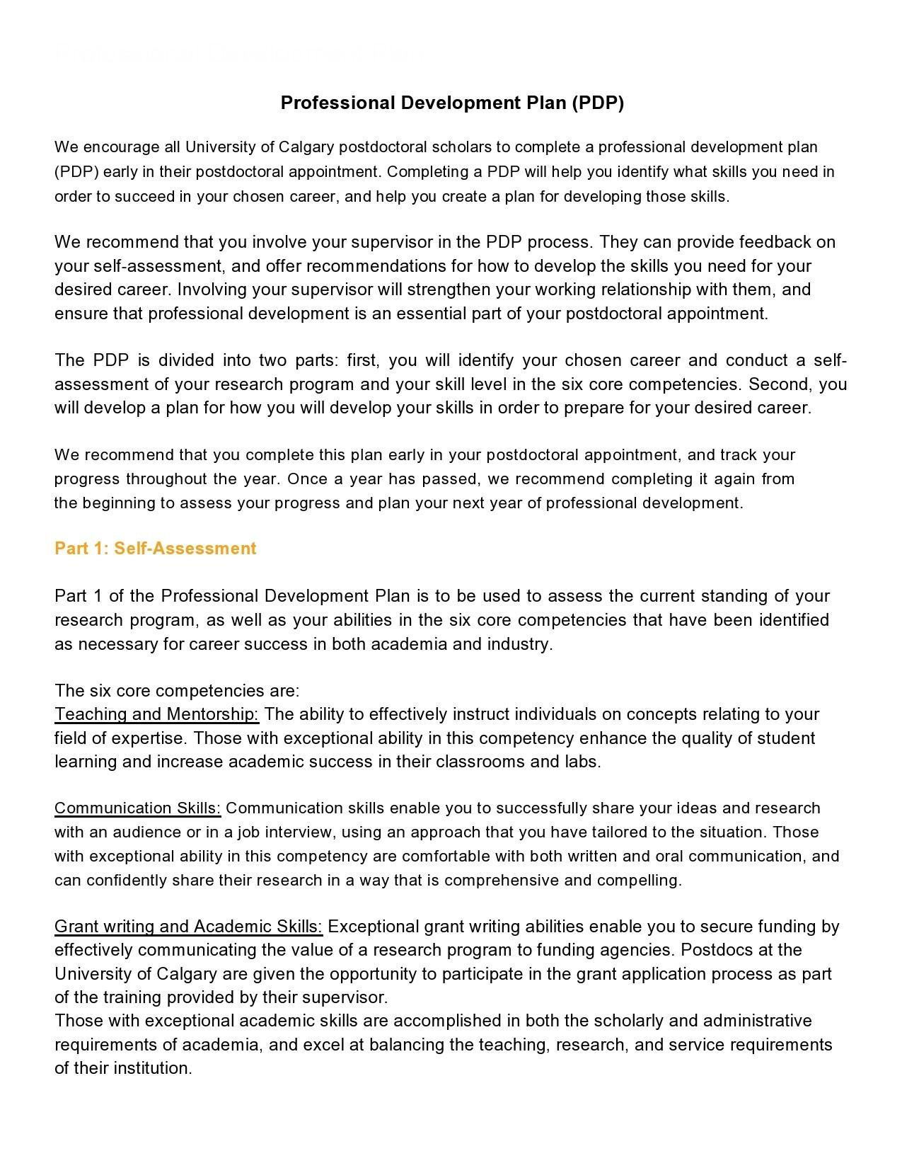 Free professional development plan 17