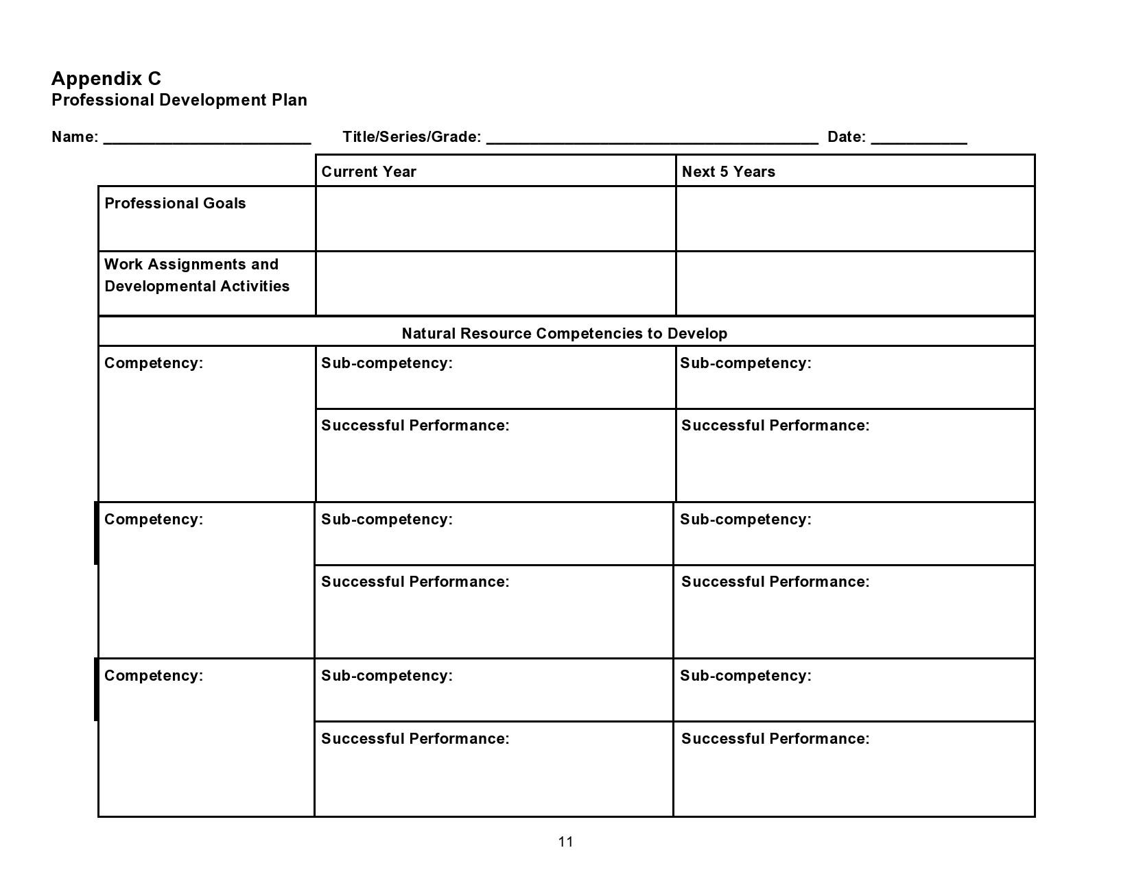 Free professional development plan 21