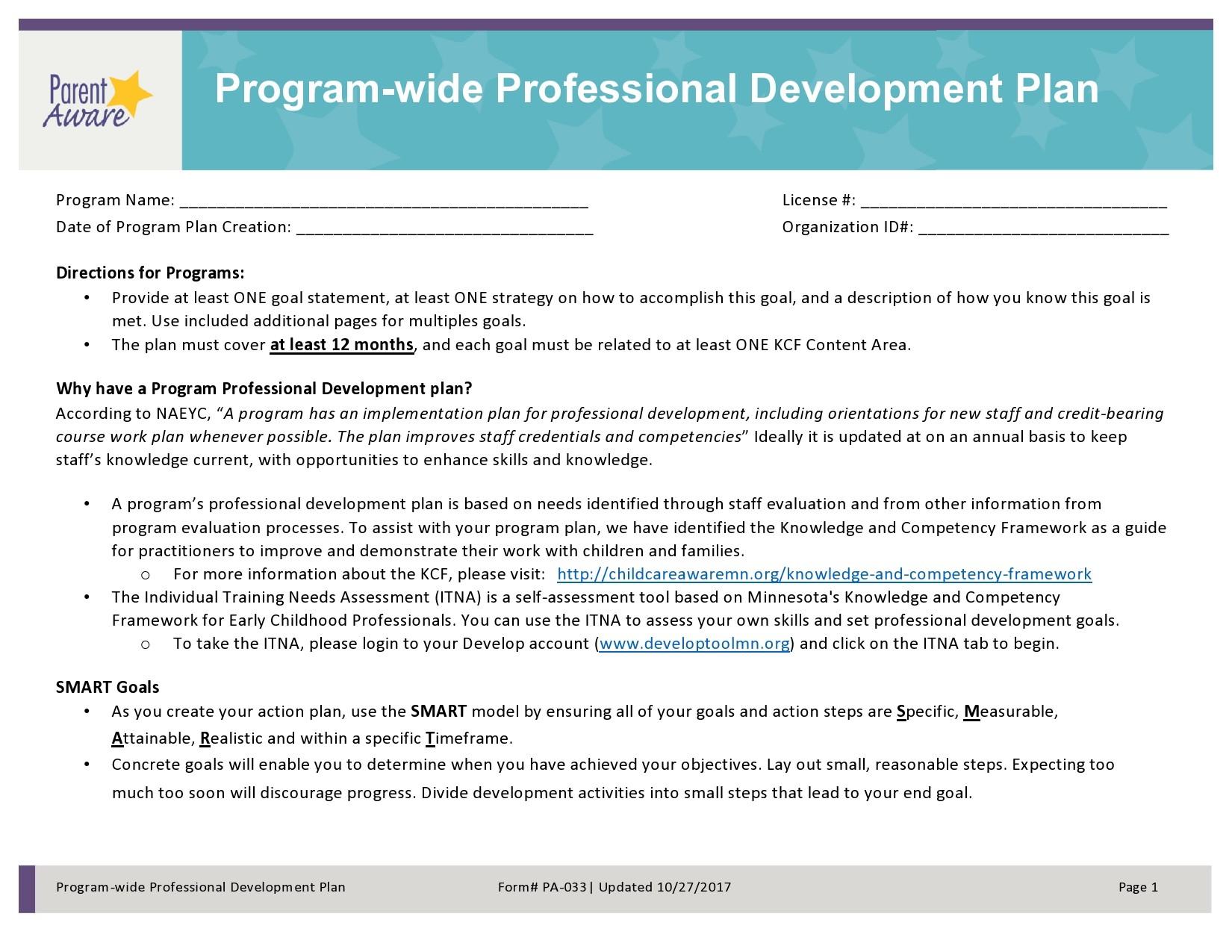 Free professional development plan 22