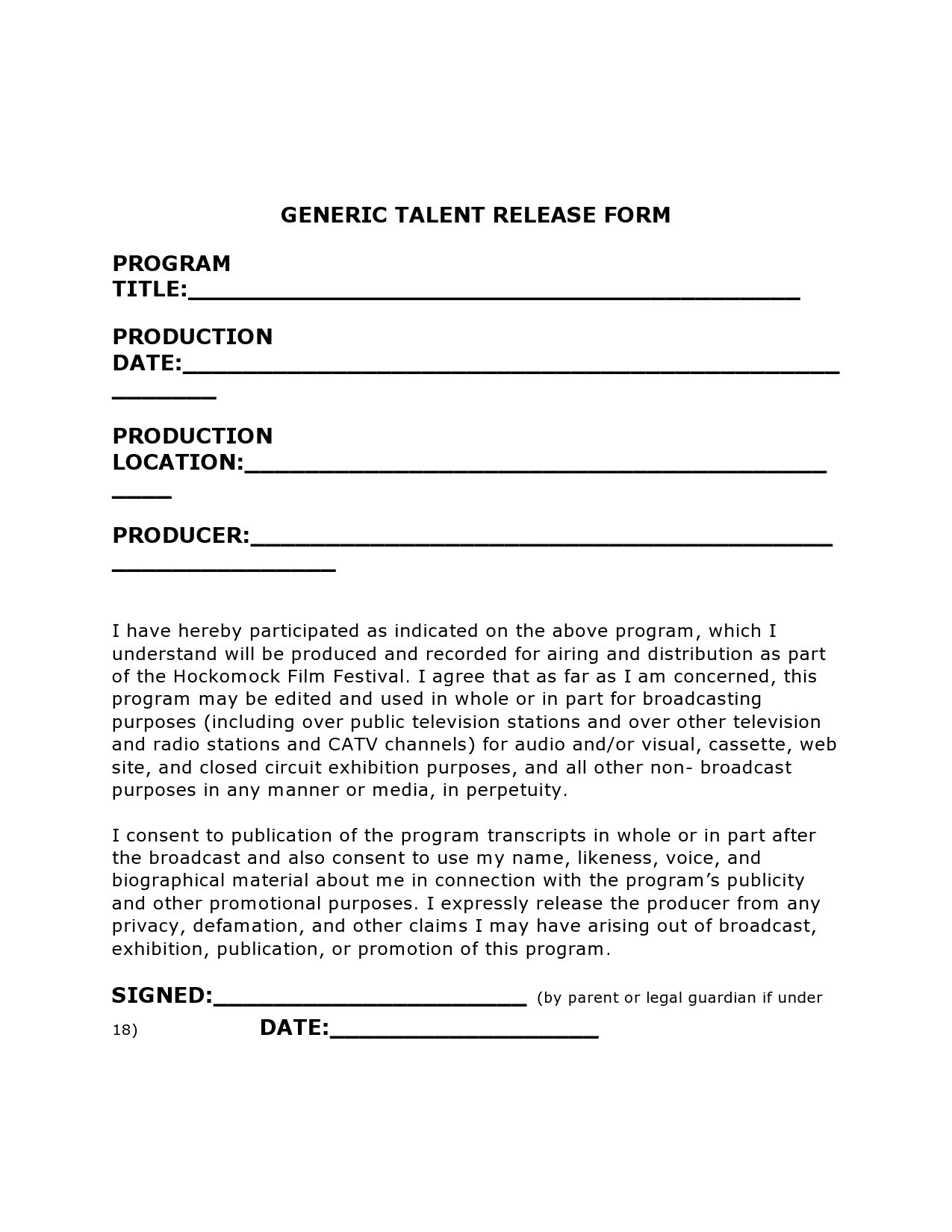 Free talent release form 03