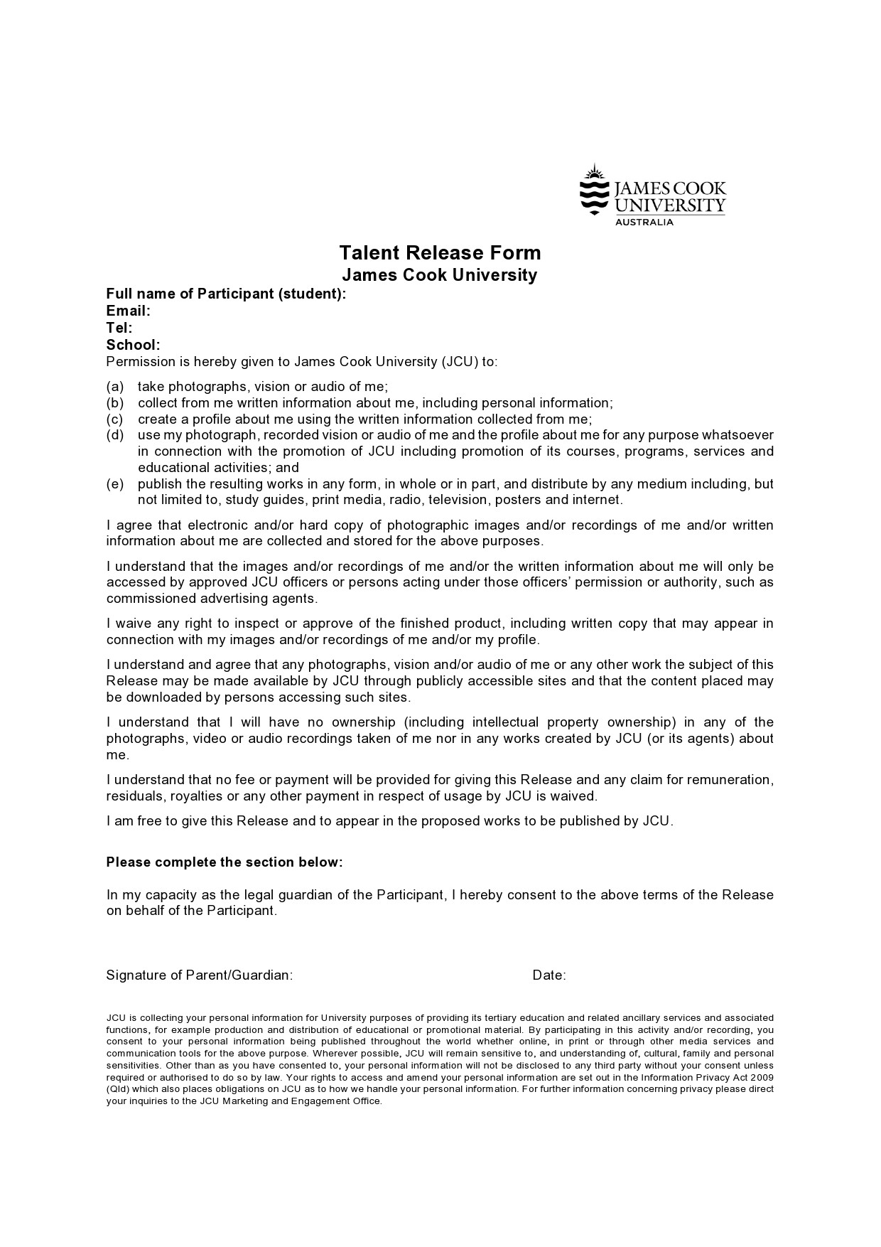 Free talent release form 07
