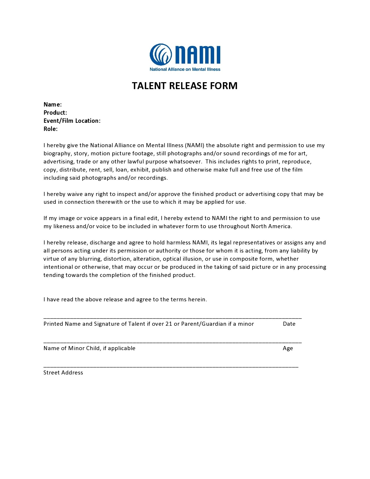 Free talent release form 08