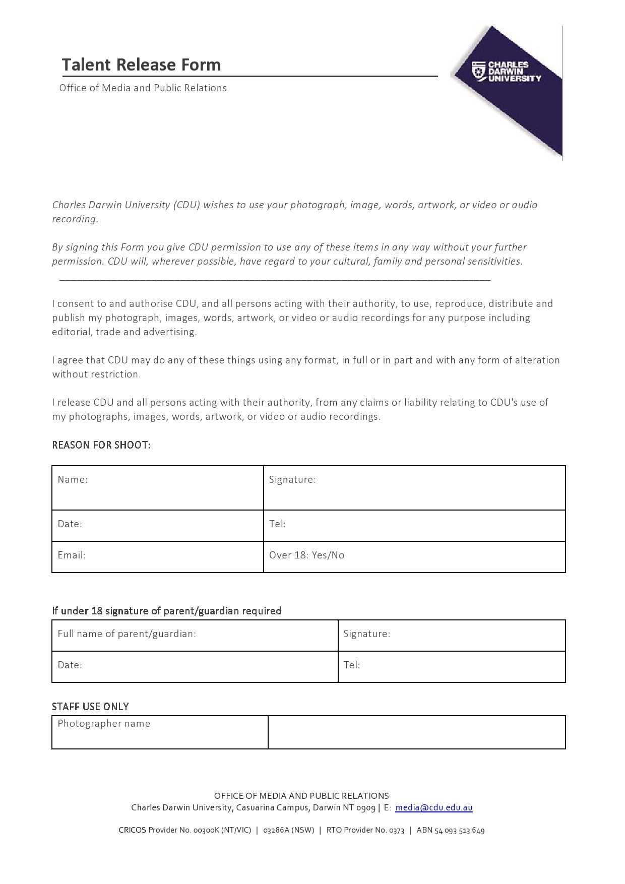 Free talent release form 09