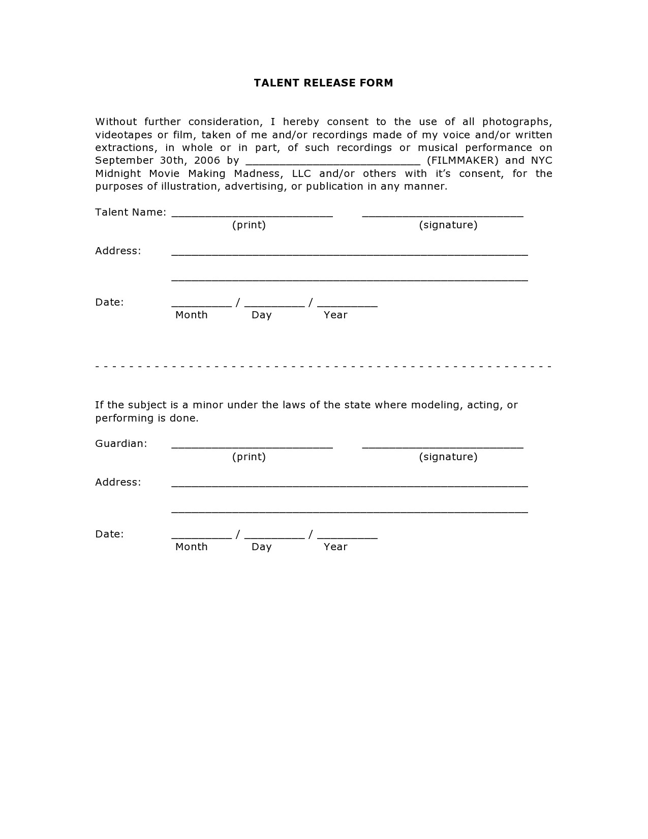 Free talent release form 10