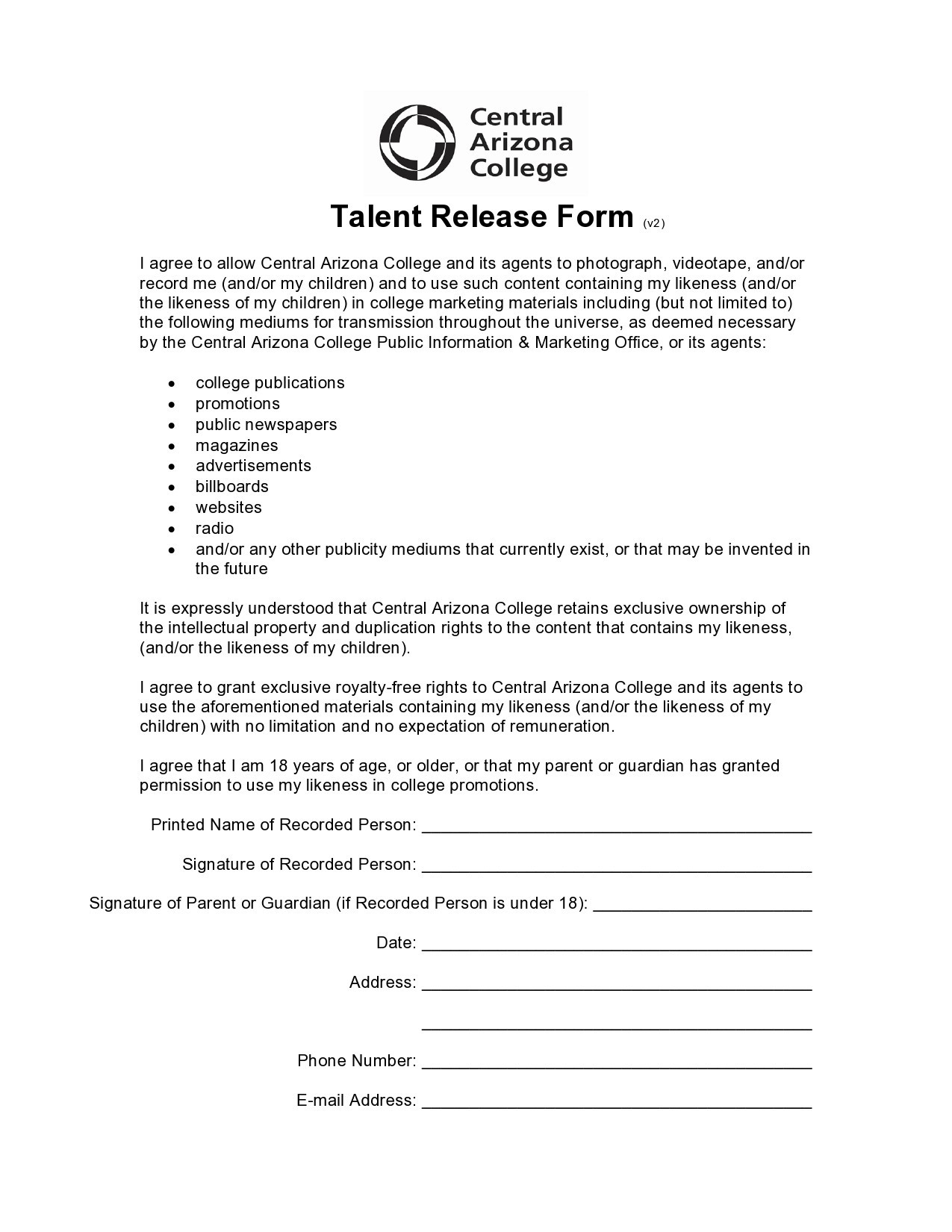 Free talent release form 11
