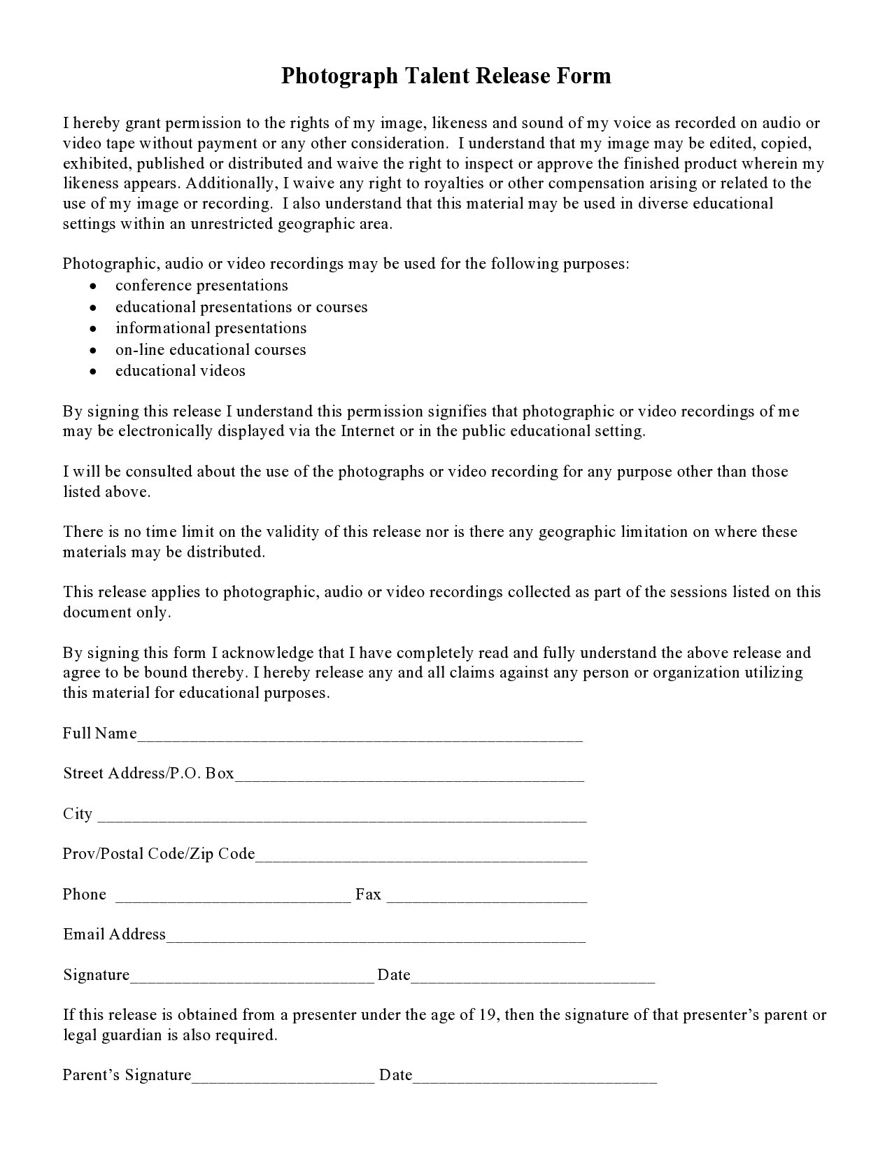 Free talent release form 13