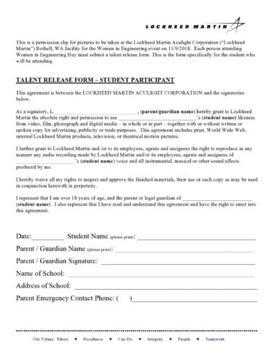 Talent Release Forms