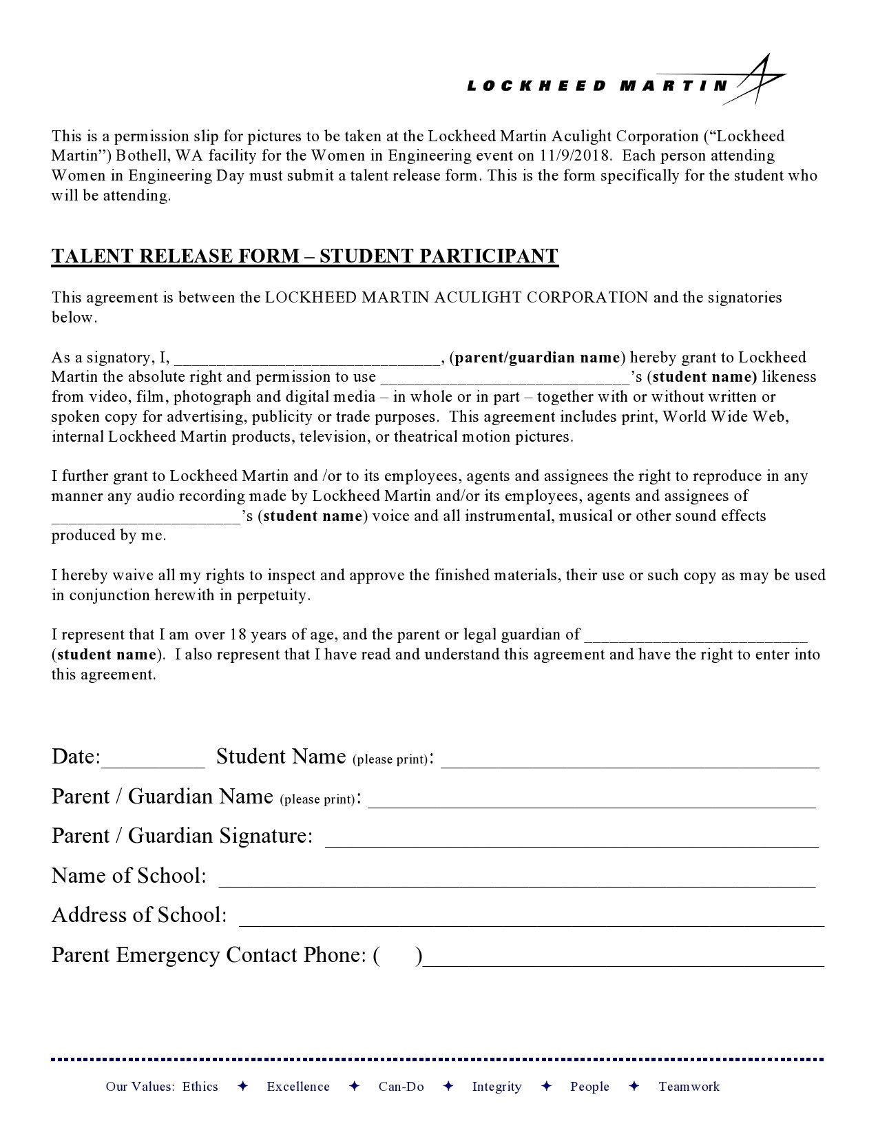 Free talent release form 15