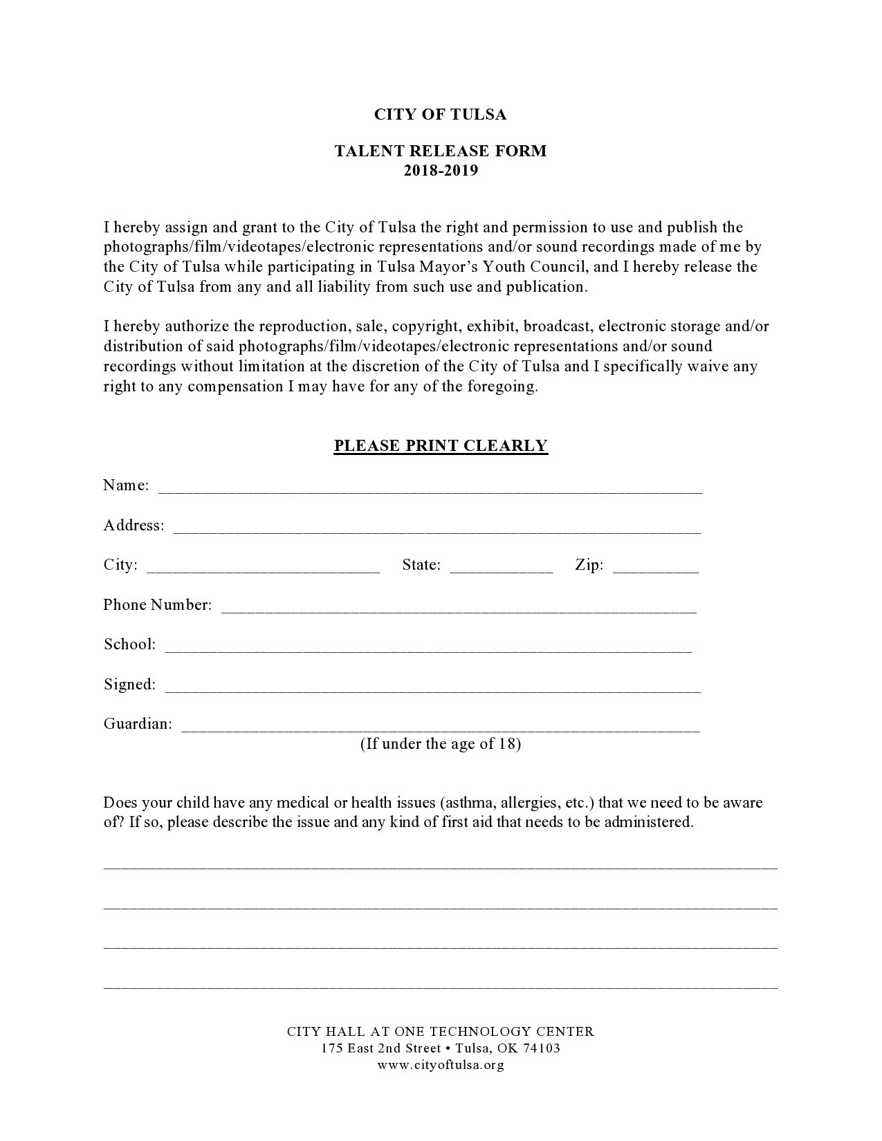 Free talent release form 16