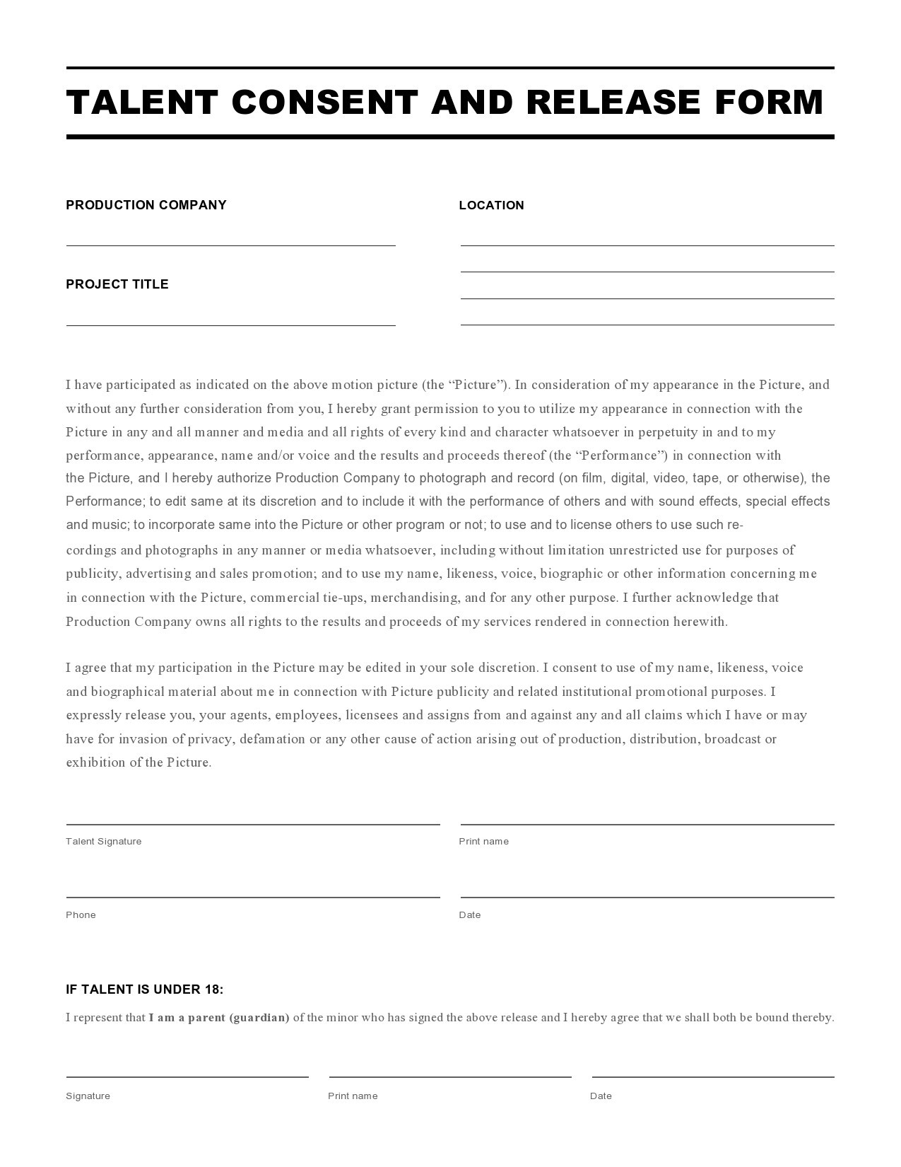 Free talent release form 18