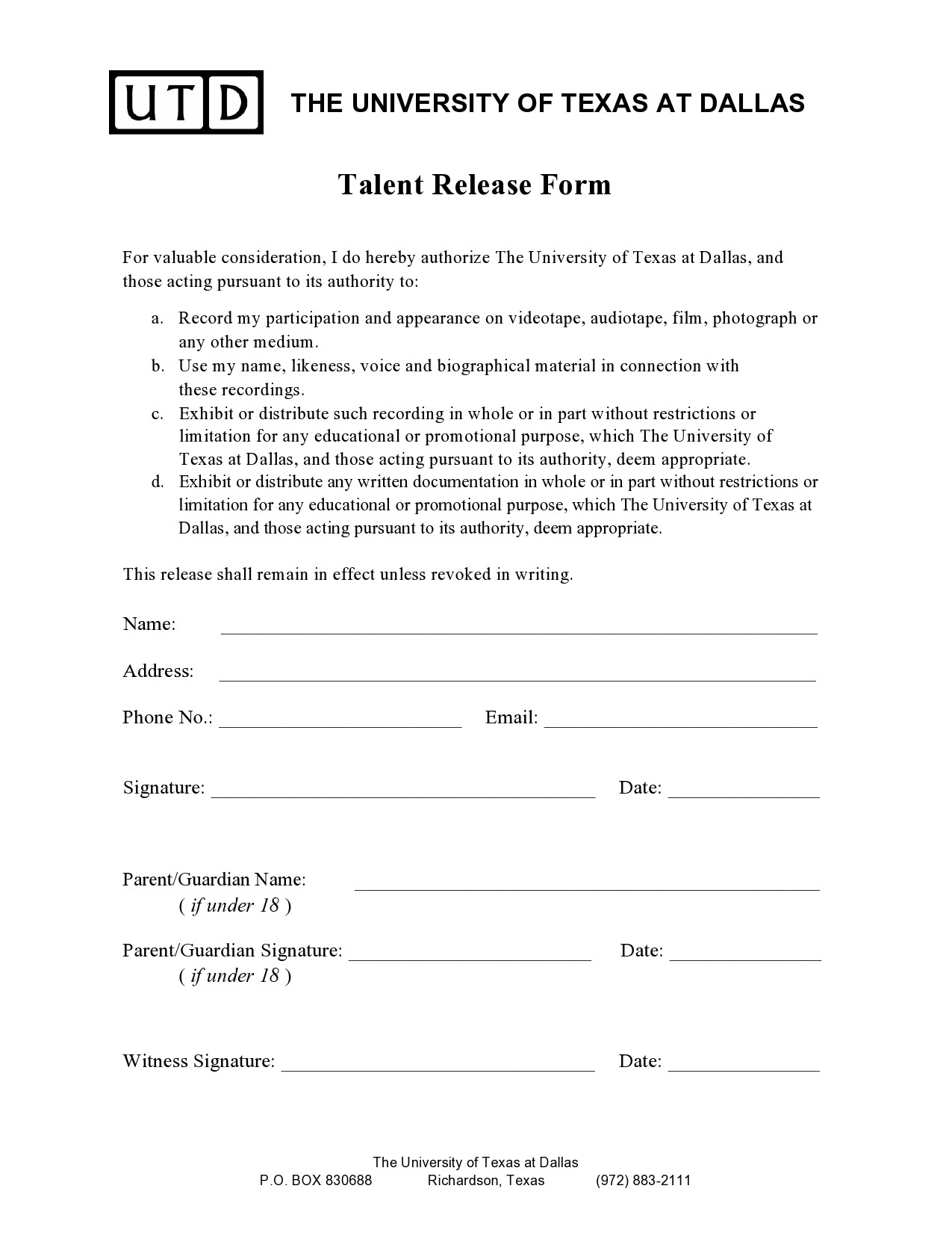 Free talent release form 20