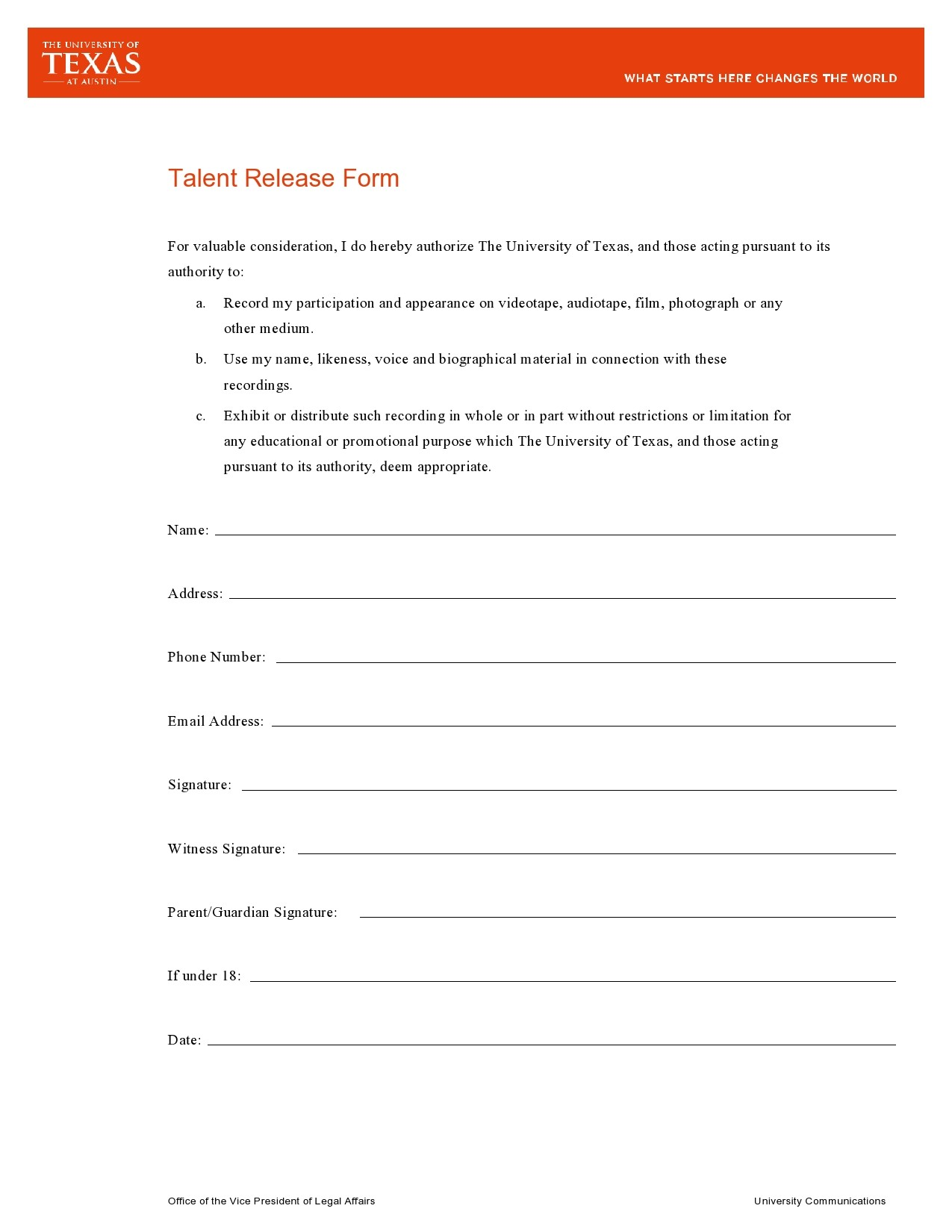Free talent release form 22