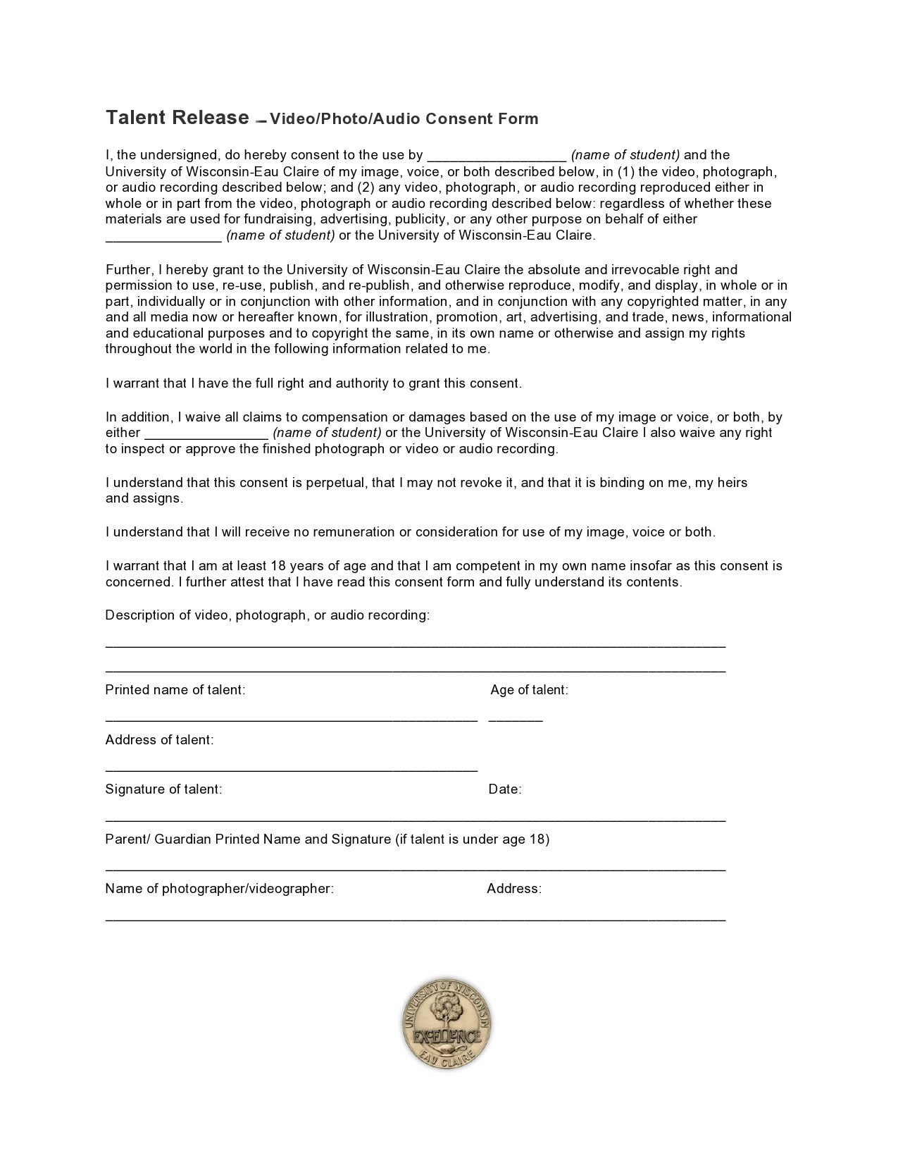 Free talent release form 23