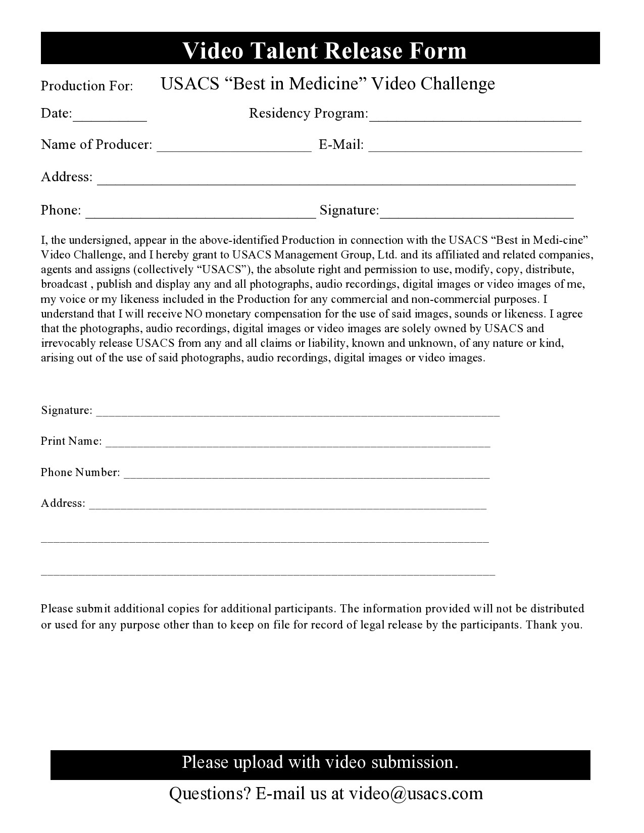 Free talent release form 26