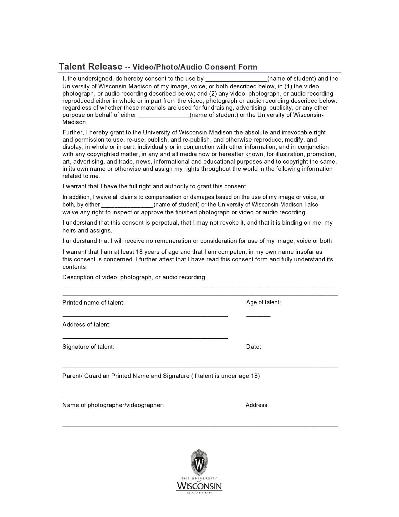 Free talent release form 28