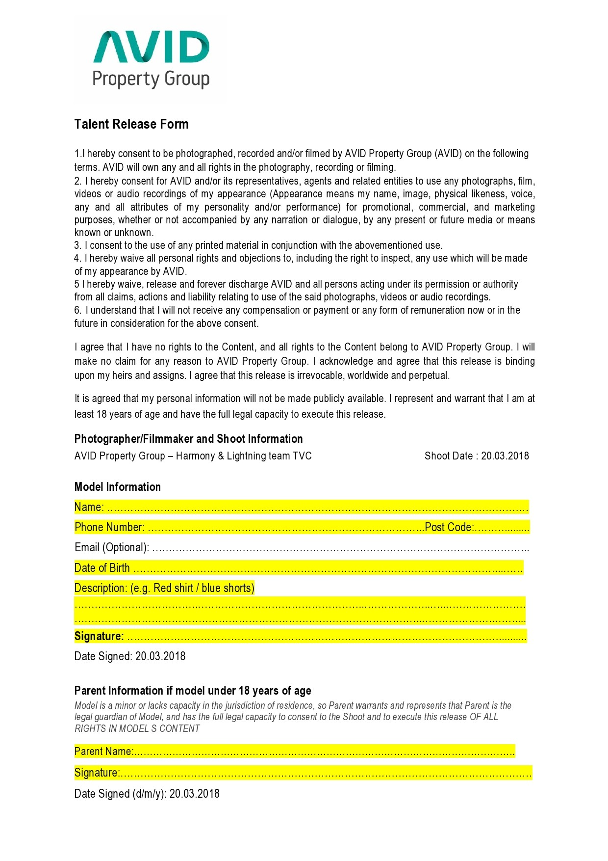 Free talent release form 29