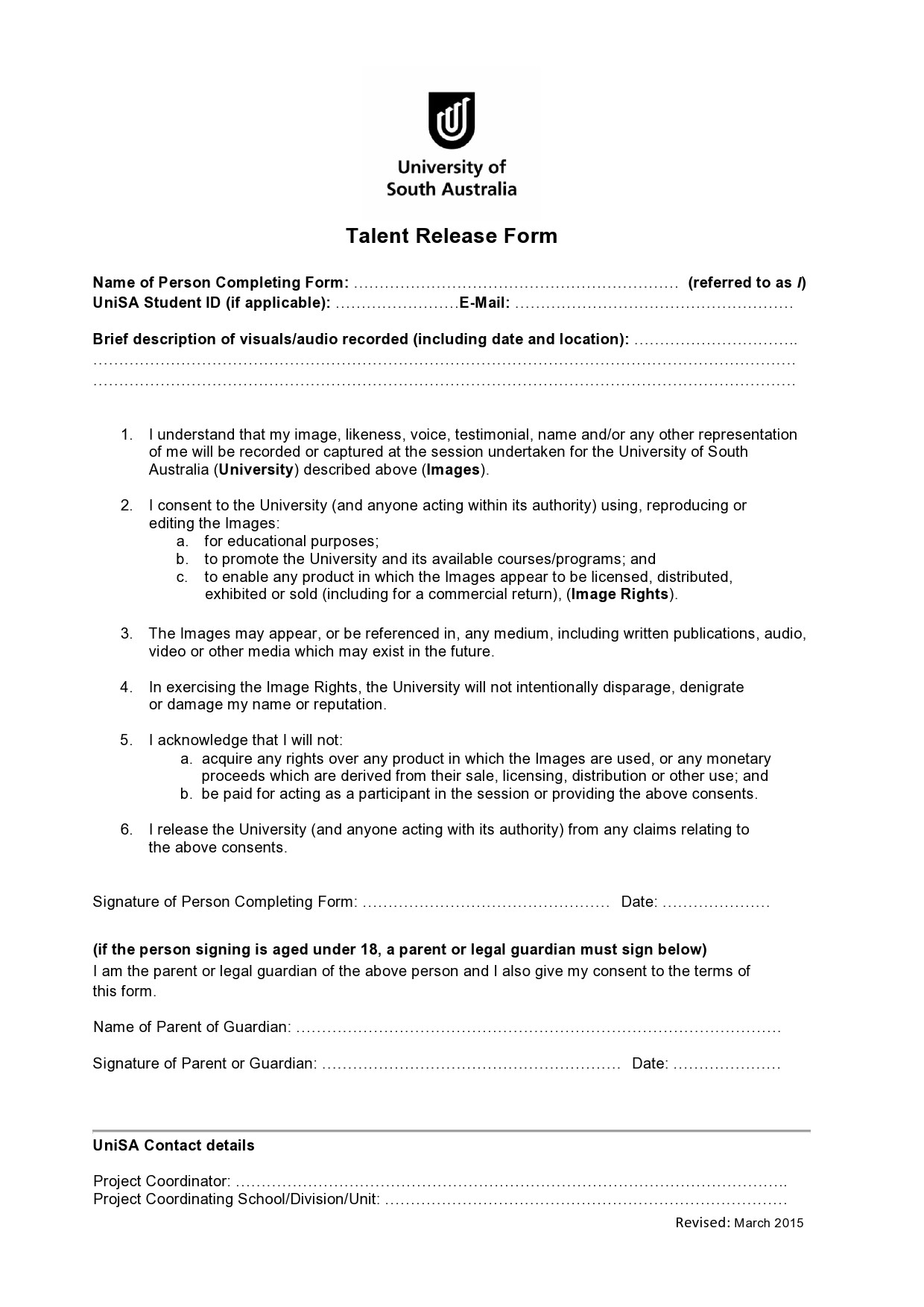 Free talent release form 31