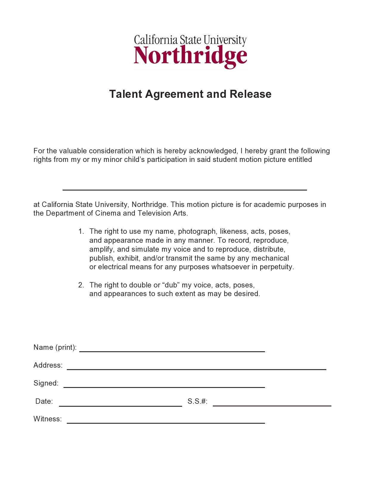 Free talent release form 33