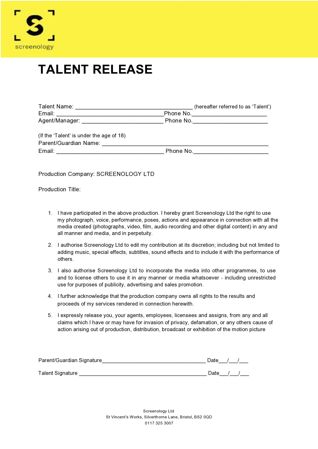 Free talent release form 35